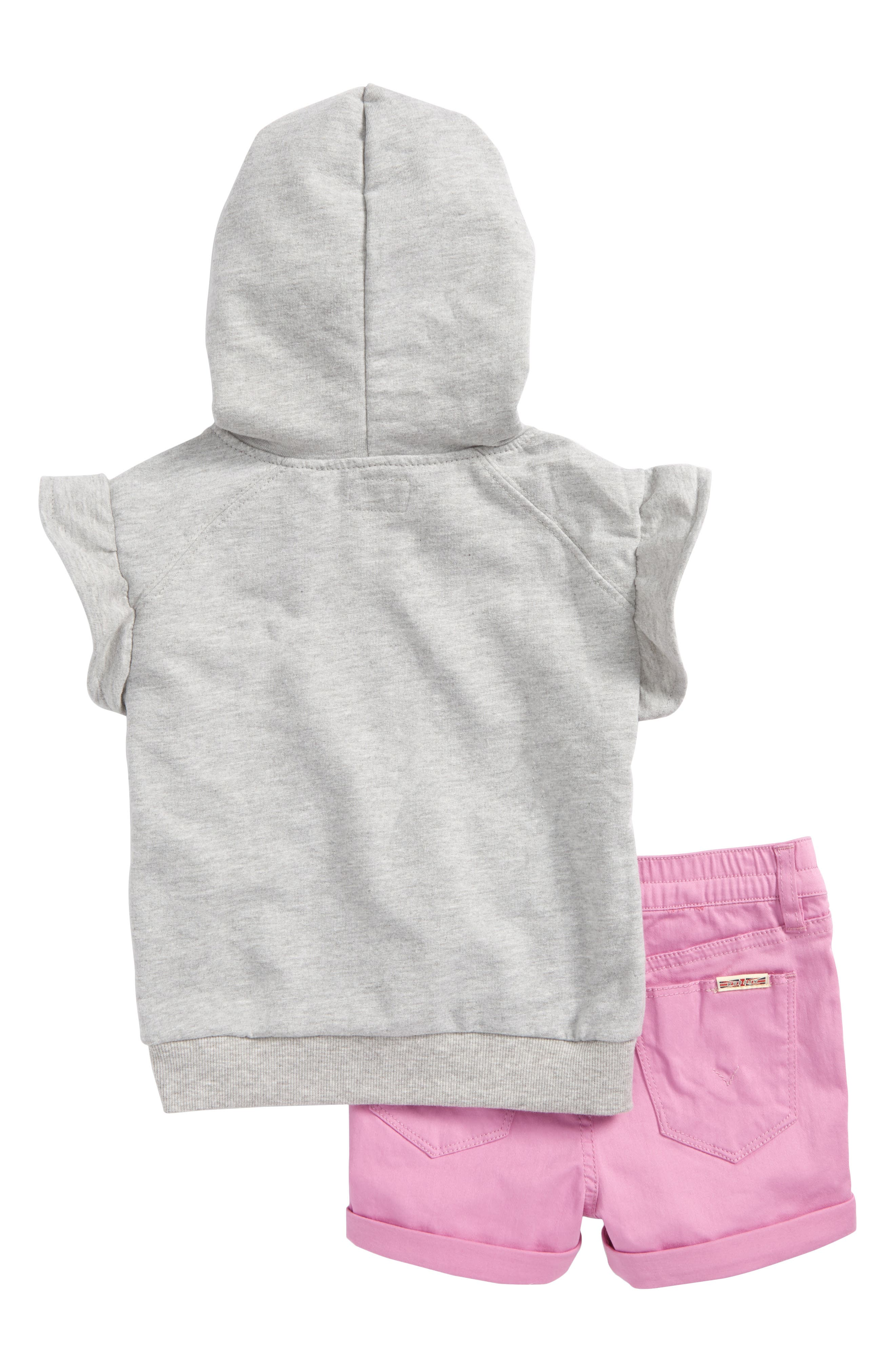 Embroidered Hoodie & Shorts Set,                             Alternate thumbnail 2, color,                             Grey Heather