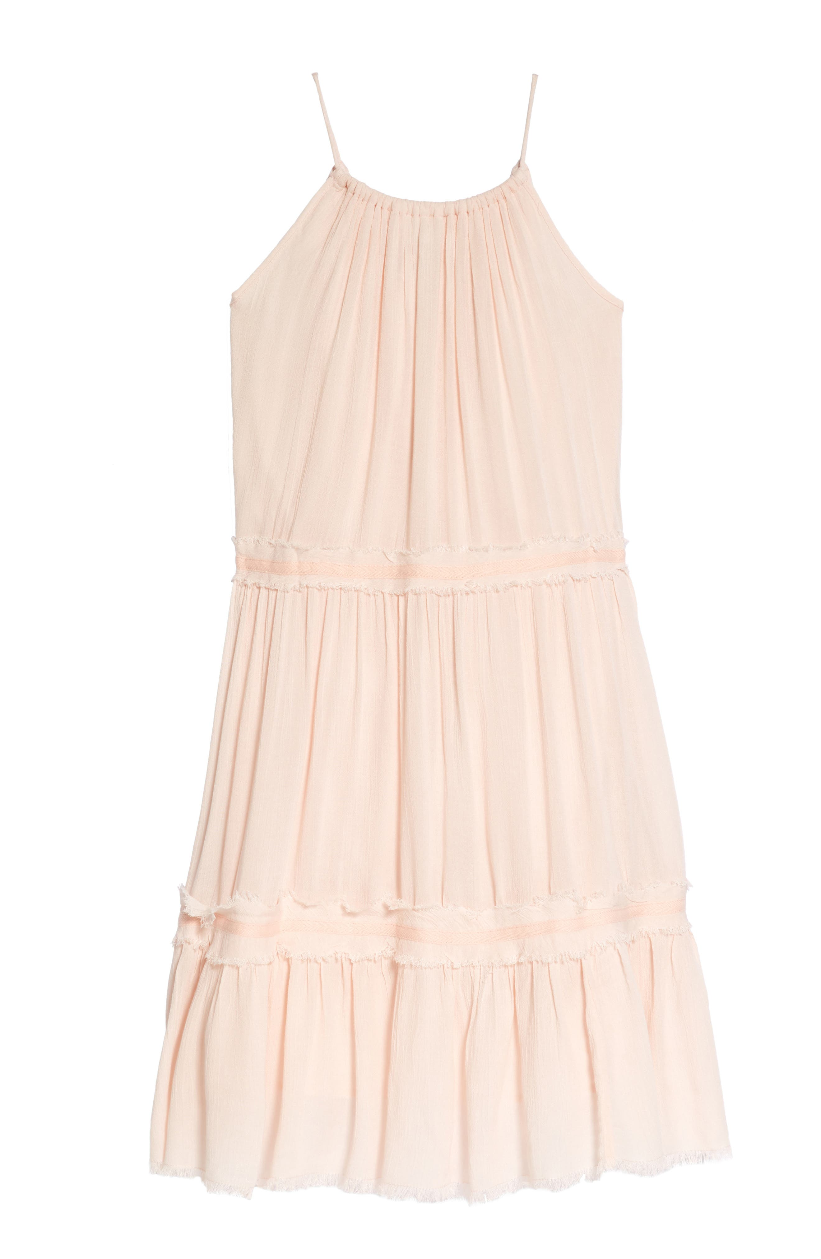 Gauzy Tiered Sundress,                             Alternate thumbnail 2, color,                             Pink Cloud