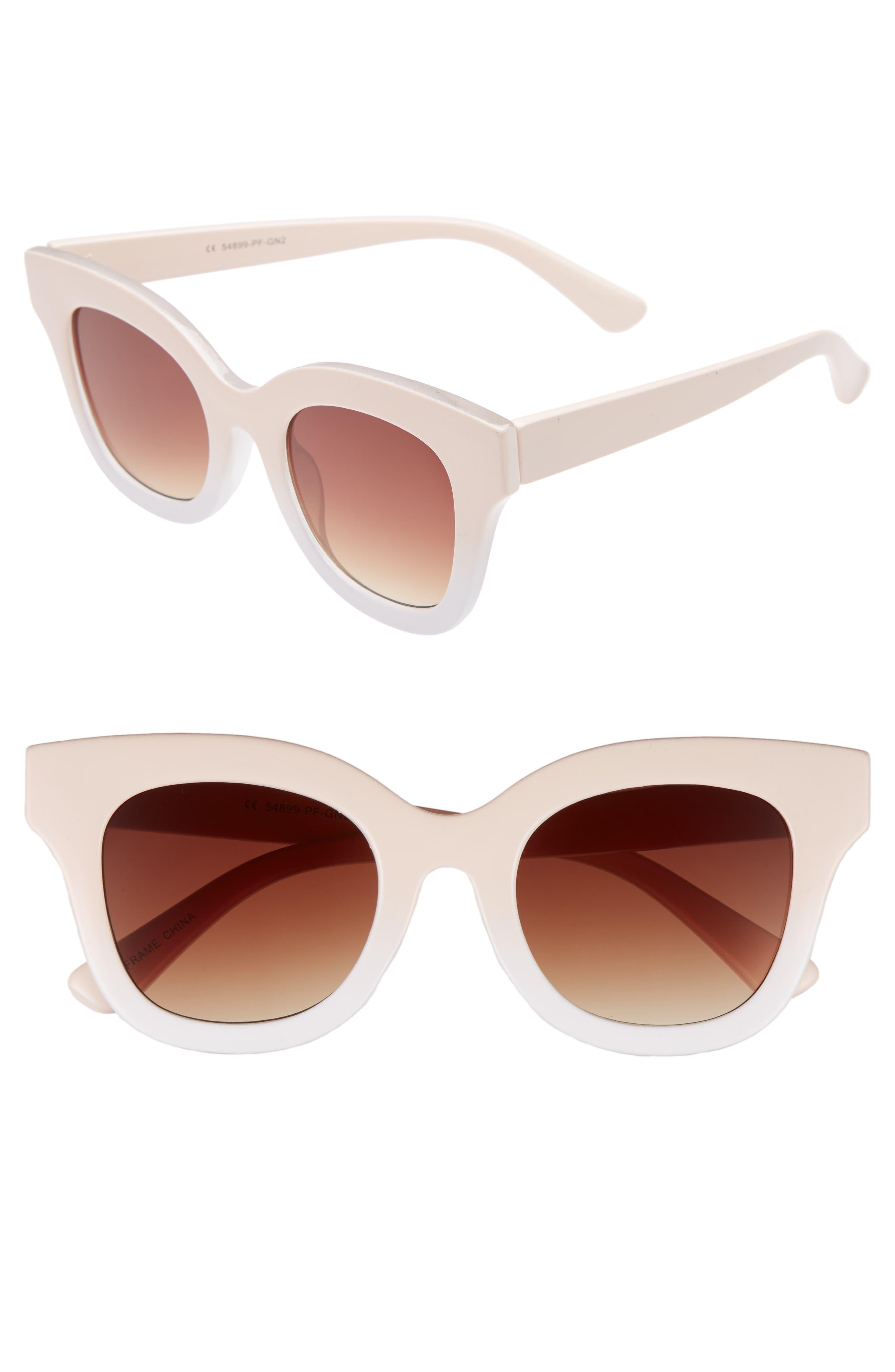 50mm Ombré Square Sunglasses,                             Main thumbnail 1, color,                             Pink