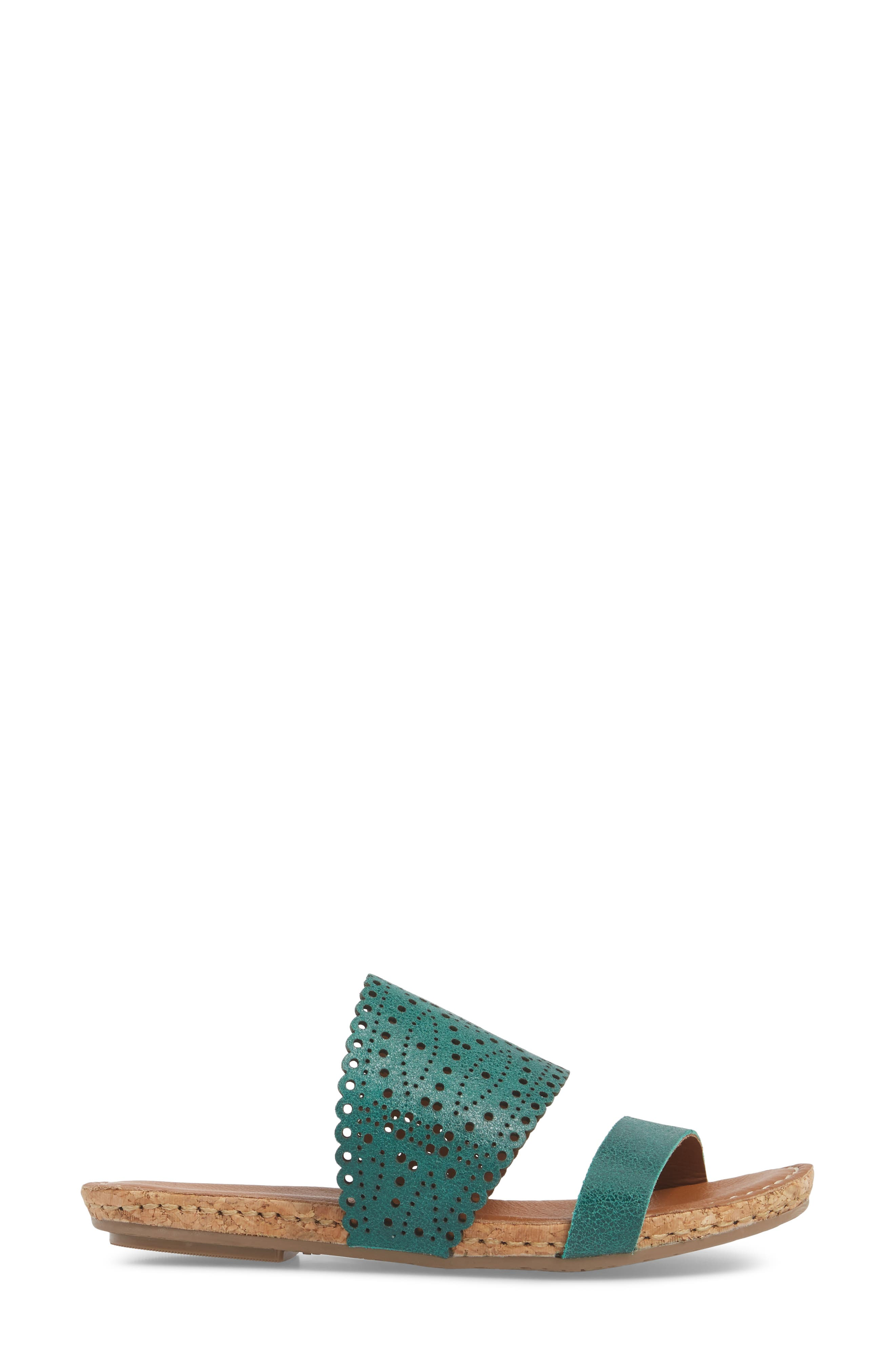 Ginette Perforated Slide Sandal,                             Alternate thumbnail 3, color,                             Ivy Leather