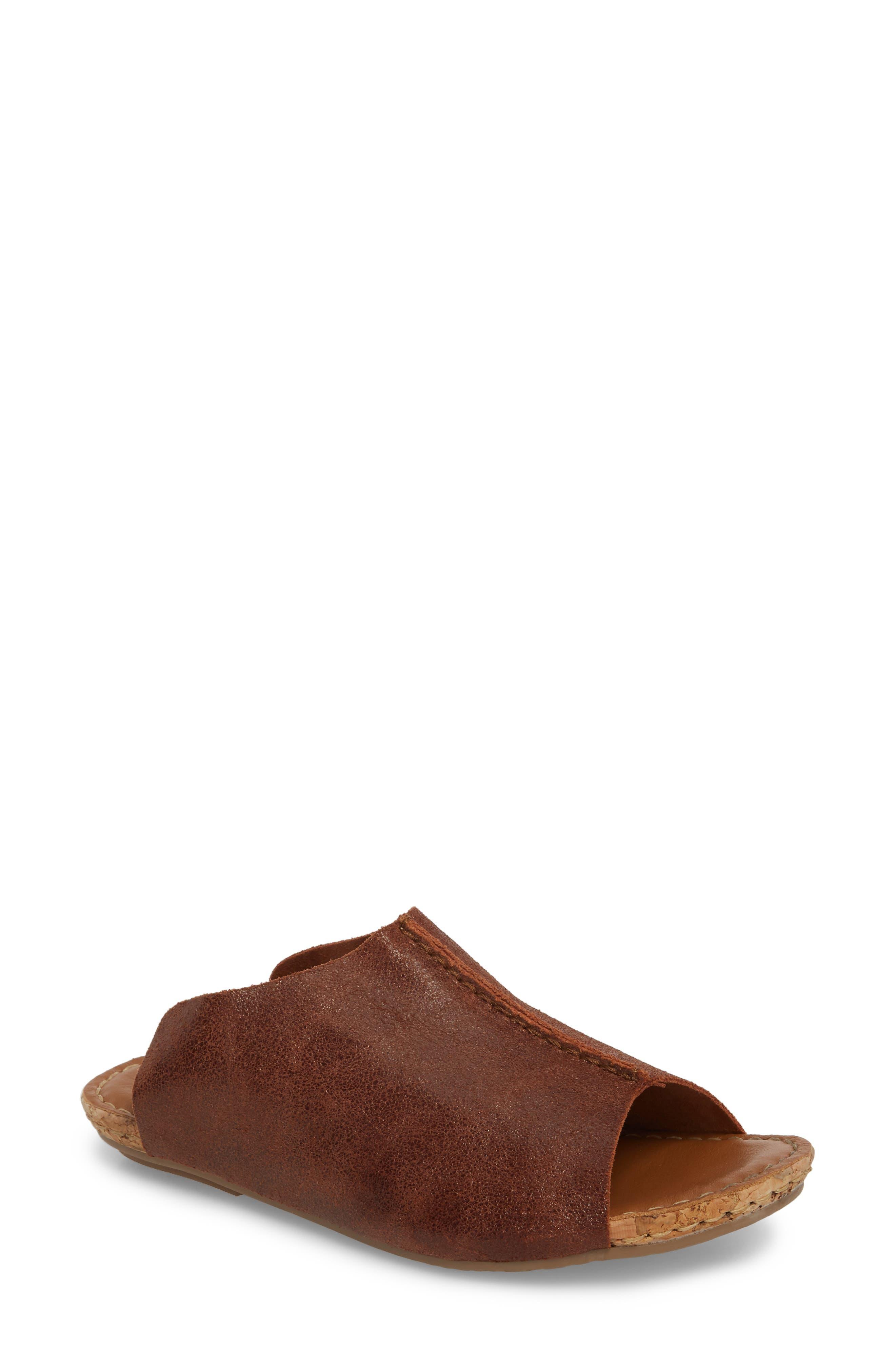 Gracey Slide Sandal,                         Main,                         color, Rum Leather