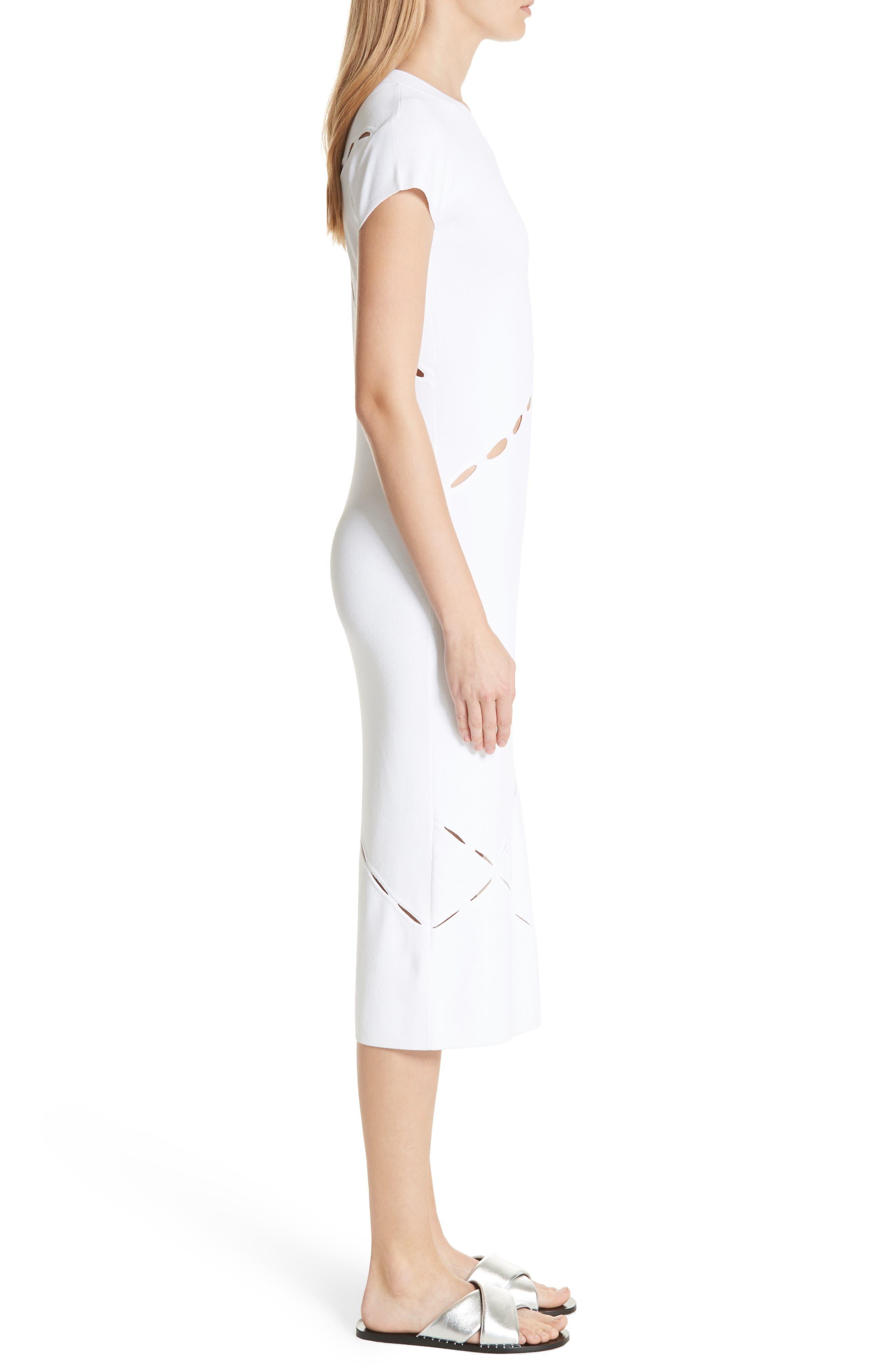 Eden Slash Detail Midi Dress,                             Alternate thumbnail 3, color,                             White