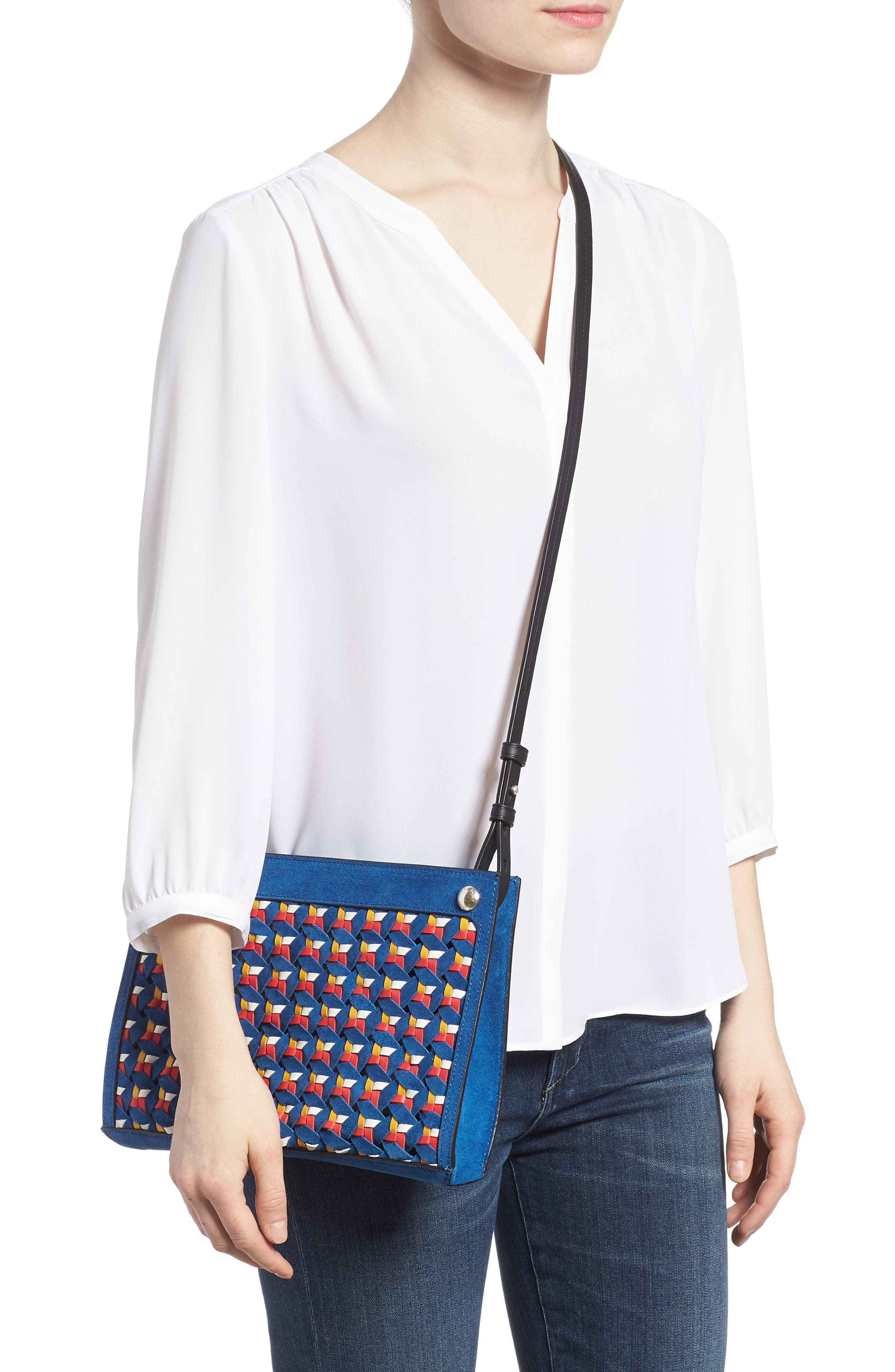 Compass Woven Suede & Leather Crossbody Bag,                             Alternate thumbnail 2, color,                             Multi Woven