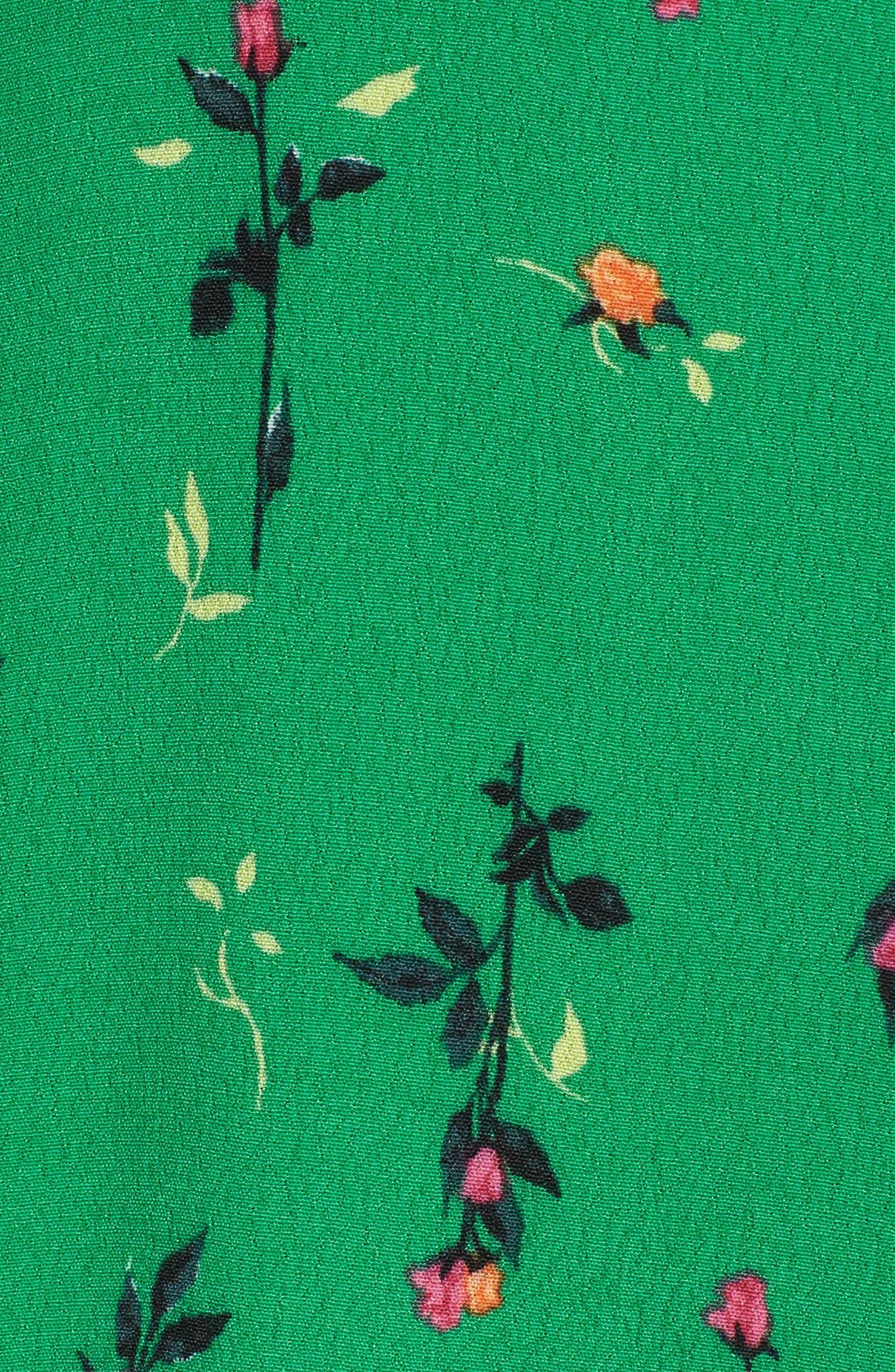 Piper Satin Open Back Dress,                             Alternate thumbnail 5, color,                             Green Ditsy Rose