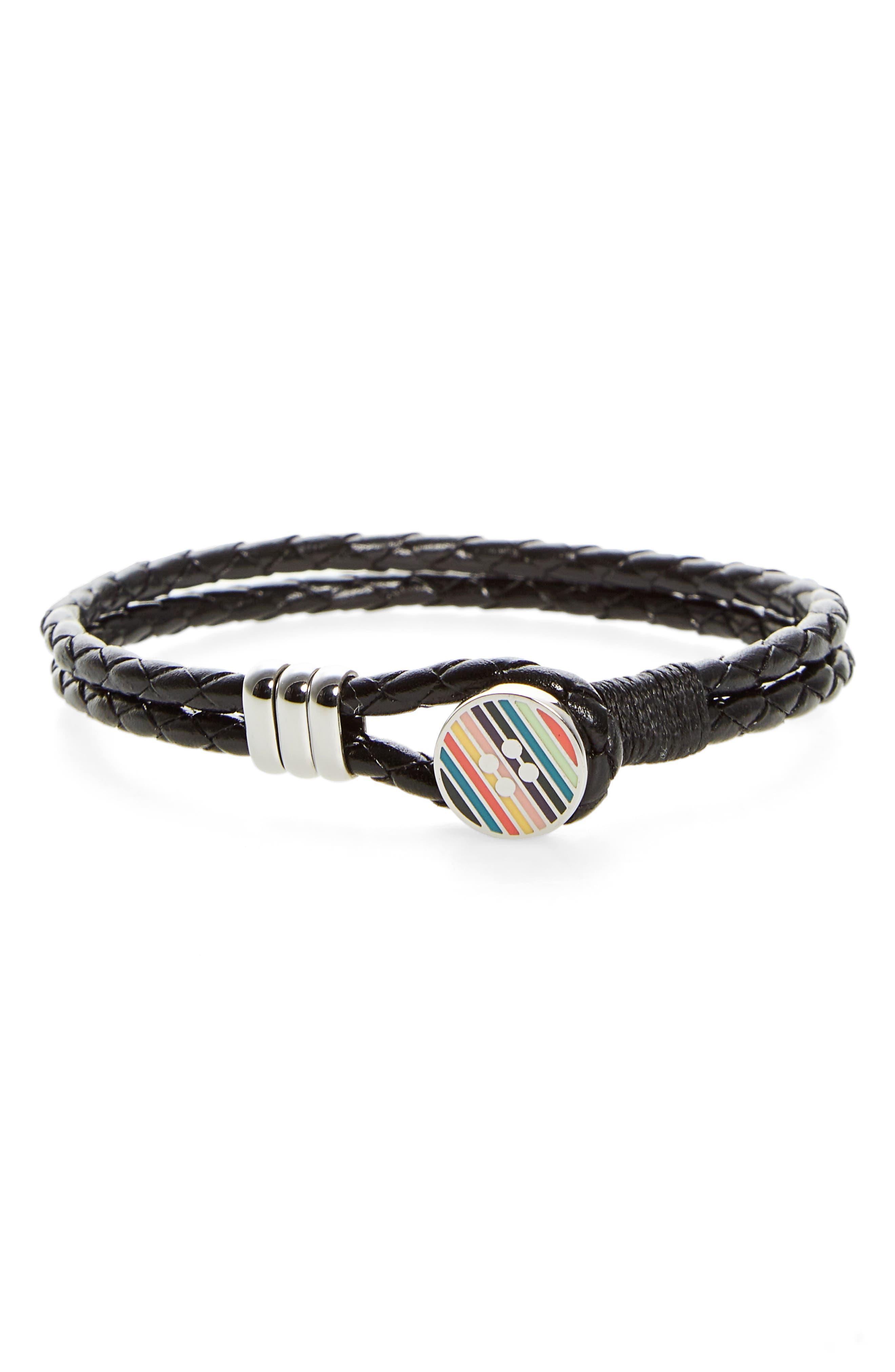 Enamel Button Leather Bracelet,                         Main,                         color, Black