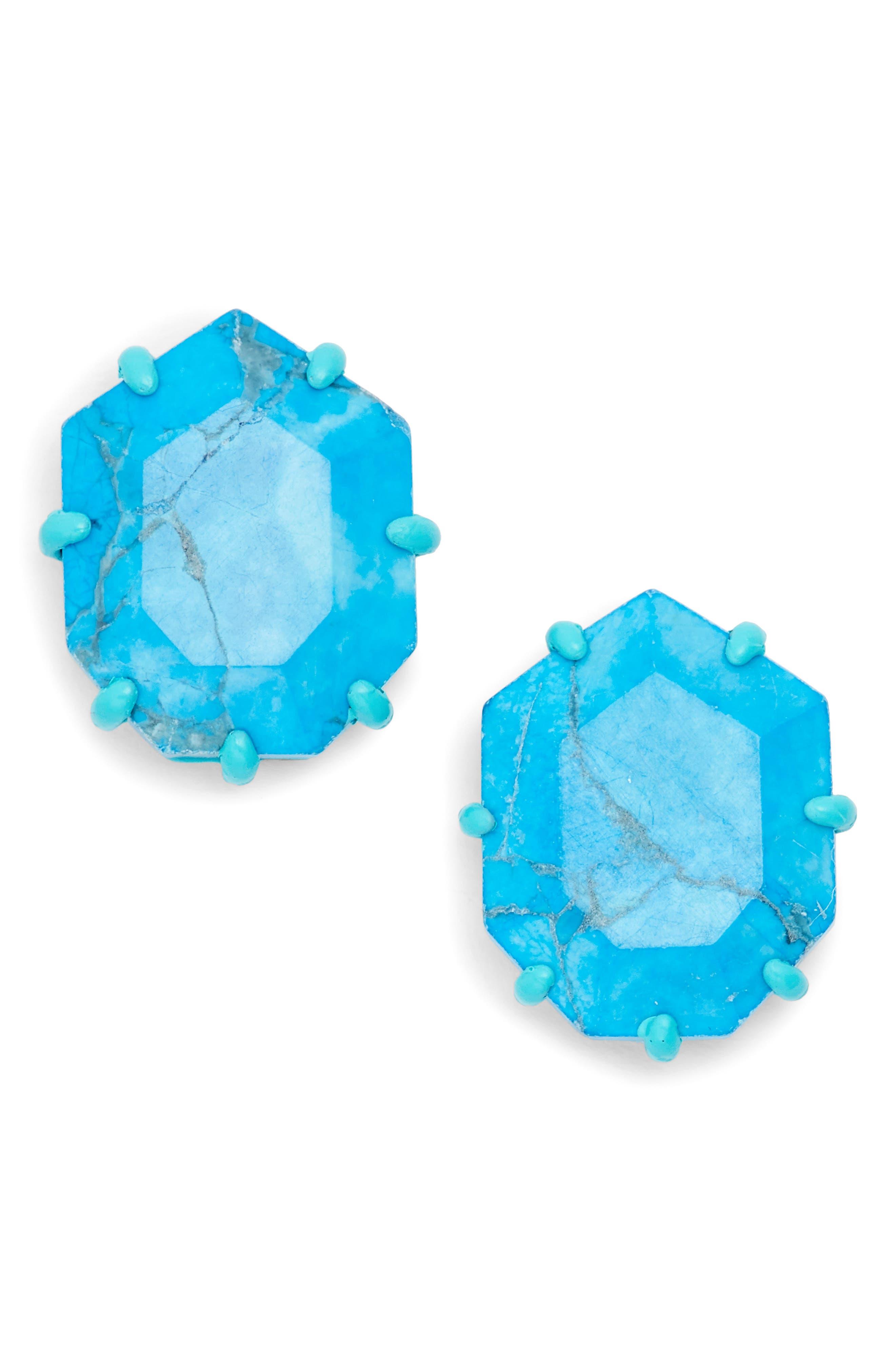 Morgan Stud Earrings,                         Main,                         color, Aqua Howlite/ Matte Aqua