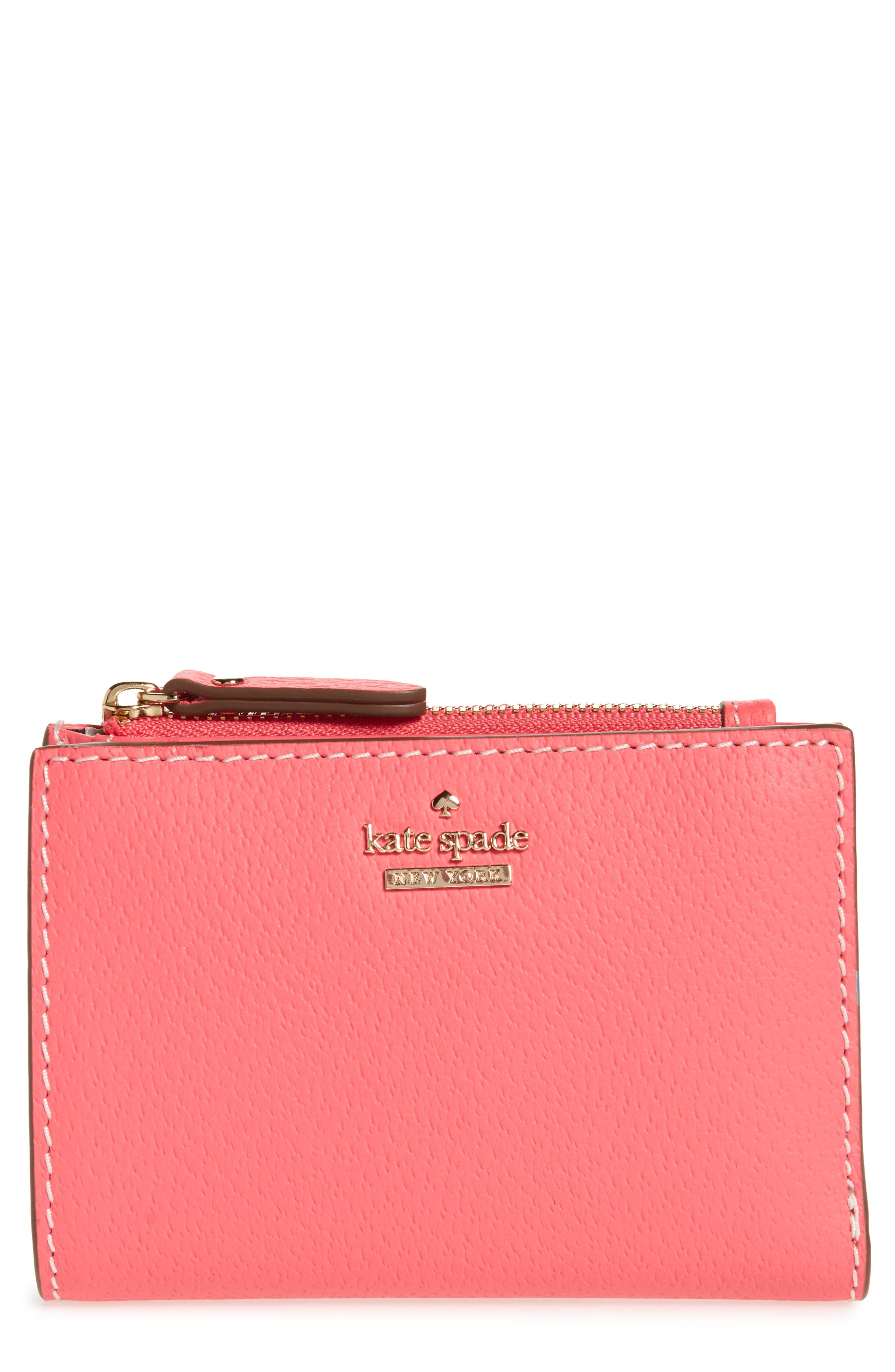 thompson street – abri leather wallet,                         Main,                         color, Bright Flamingo