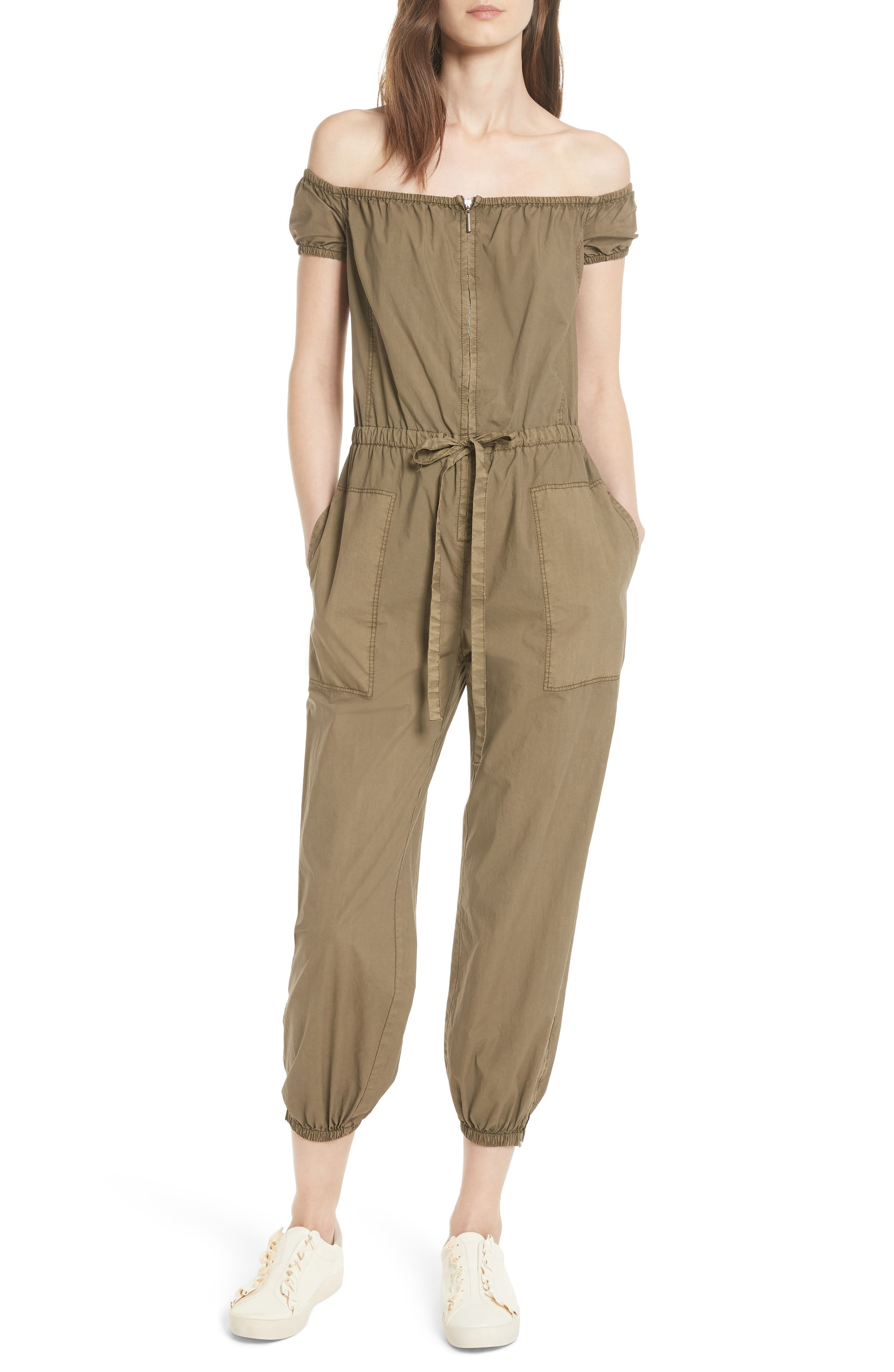 La Vie Rebecca Taylor Parachute Off the Shoulder Zip Cotton Jumpsuit
