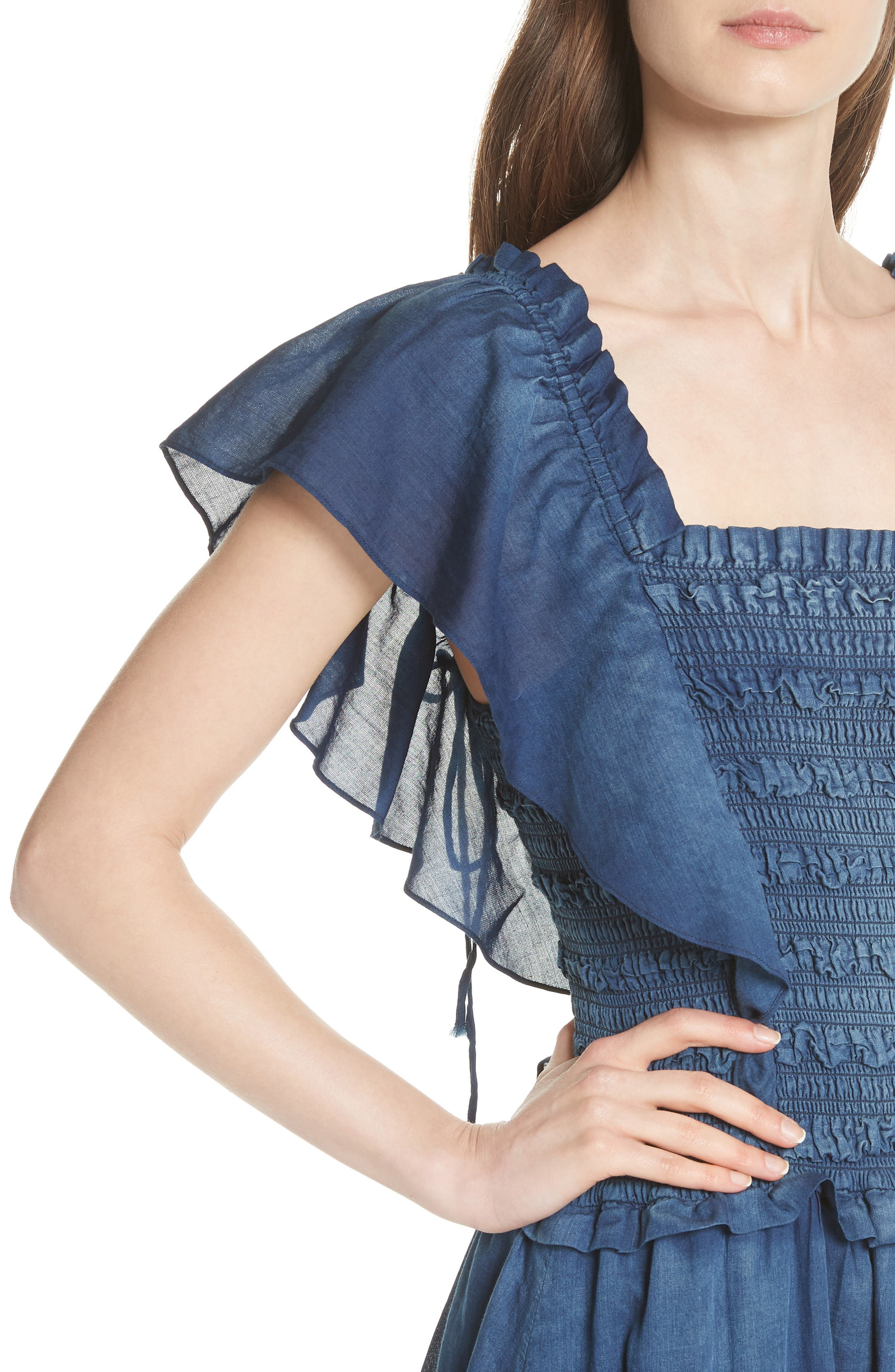 Alternate Image 4  - La Vie Rebecca Taylor Smocked Tissue Denim Dress