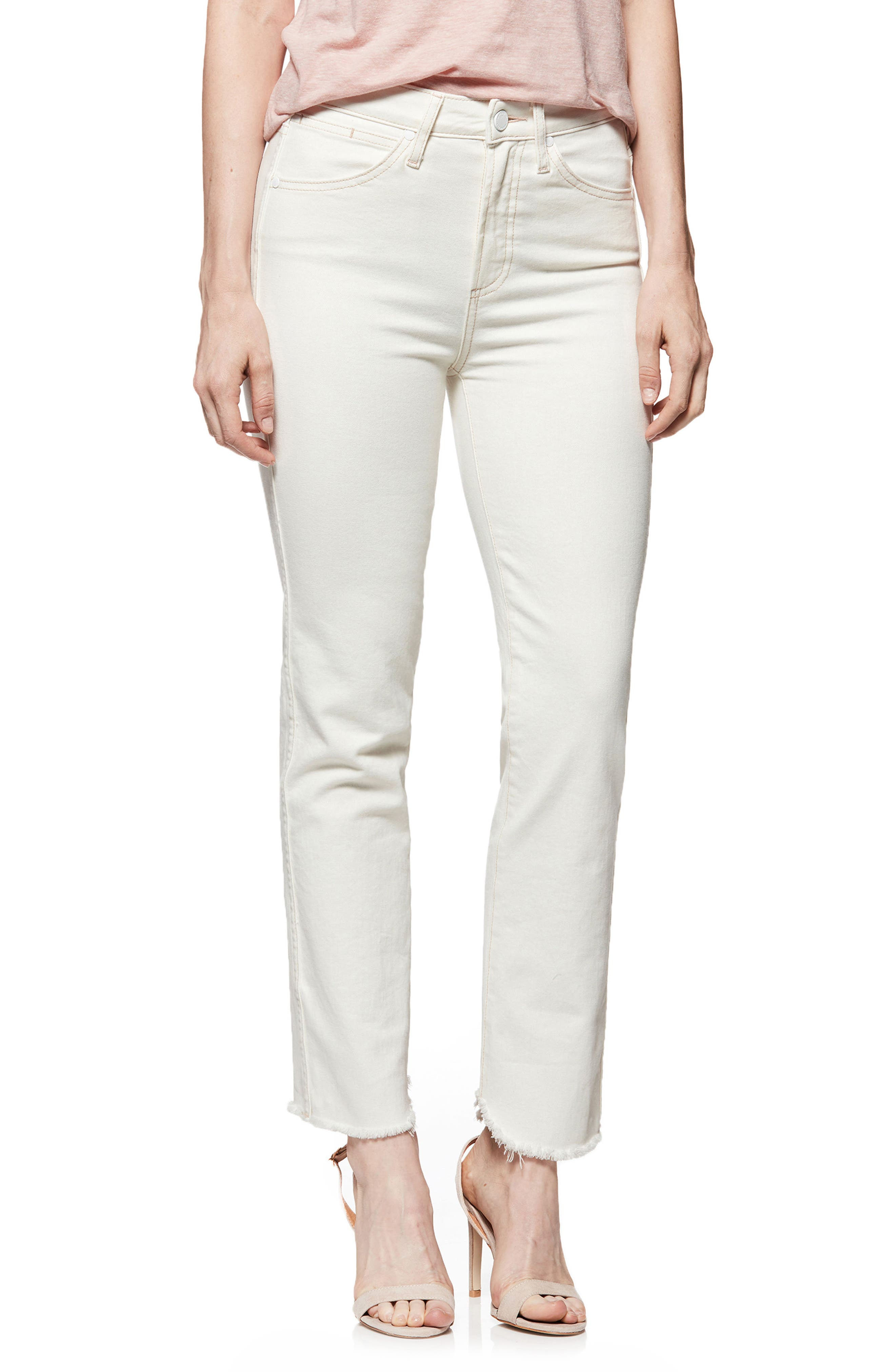 Hoxton High Waist Ankle Straight Jeans,                             Main thumbnail 1, color,                             Cream/ Pink
