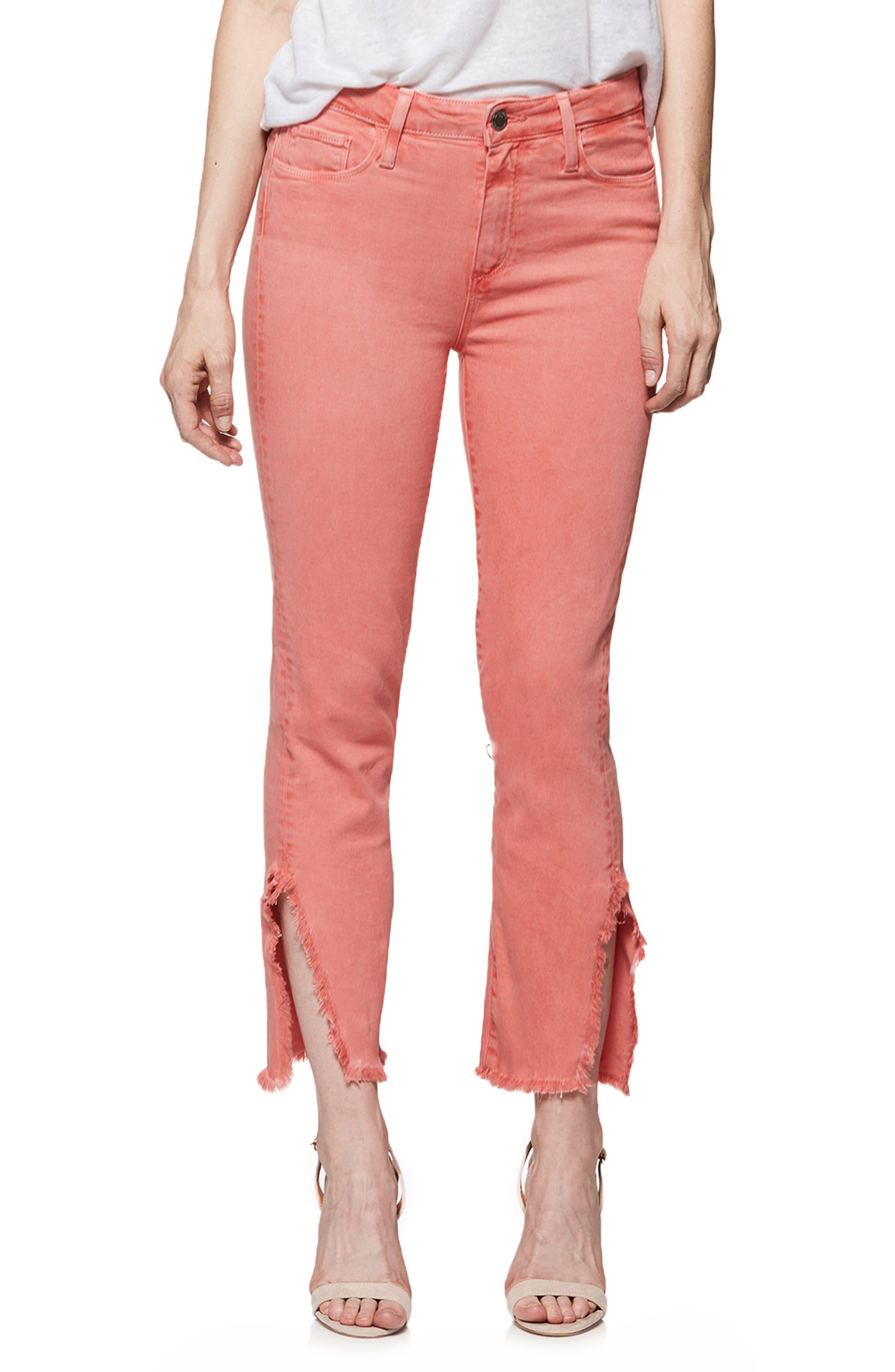 Hoxton High Waist Slit Hem Ankle Straight Jeans,                             Main thumbnail 1, color,                             Vintage Coral Reef