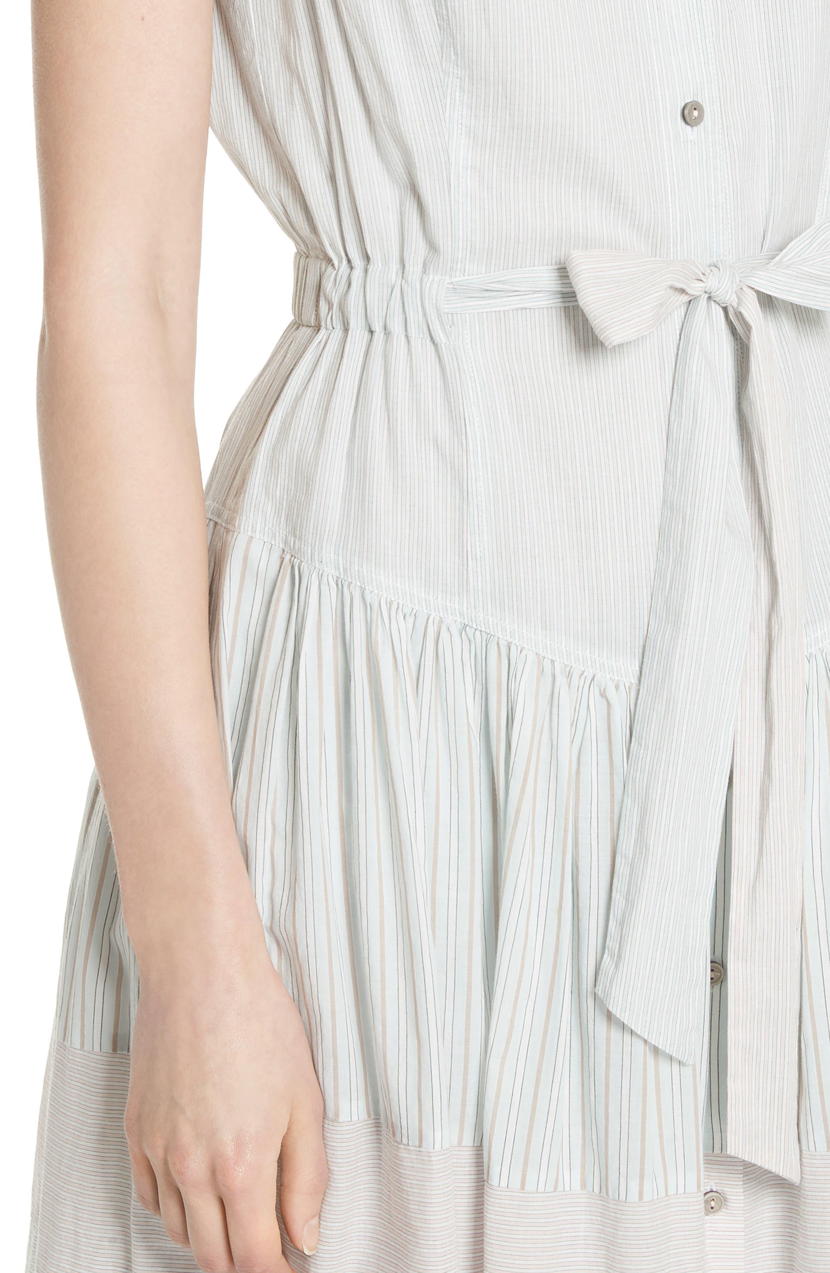 Mix Stripe Cotton Dress,                             Alternate thumbnail 5, color,                             Multi Combo