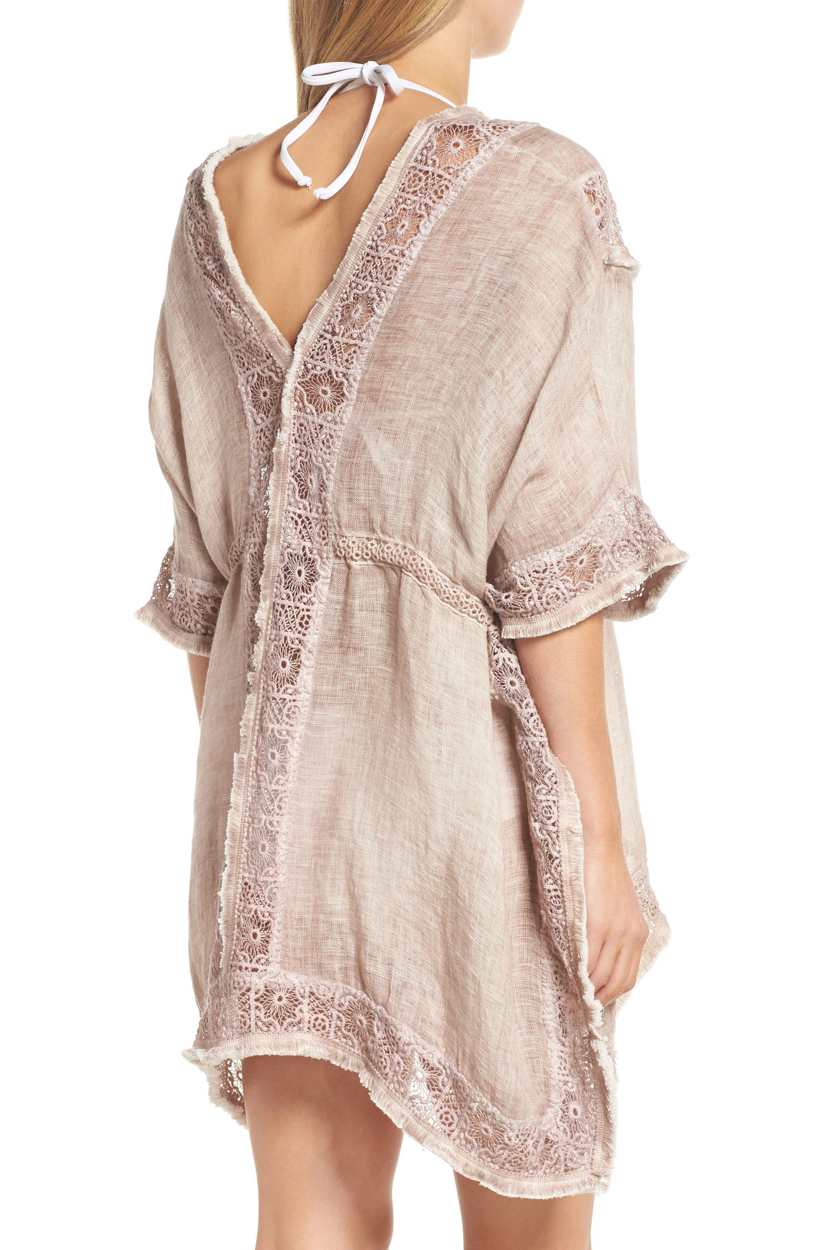 Zendaya Linen Cover-Up Tunic,                             Alternate thumbnail 2, color,                             Dusty Pink