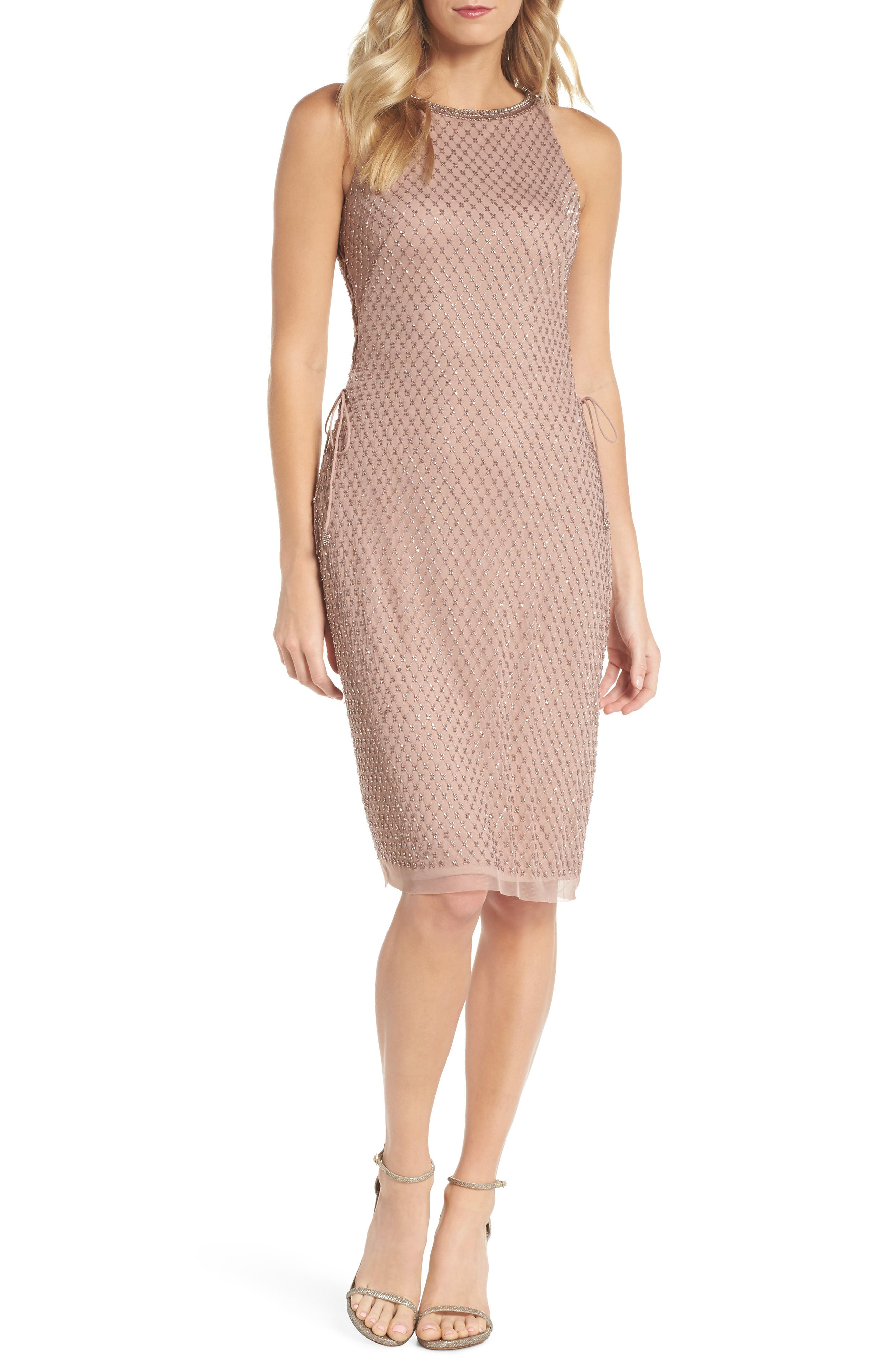 Beaded Lace-Up Dress,                         Main,                         color, Rose Gold
