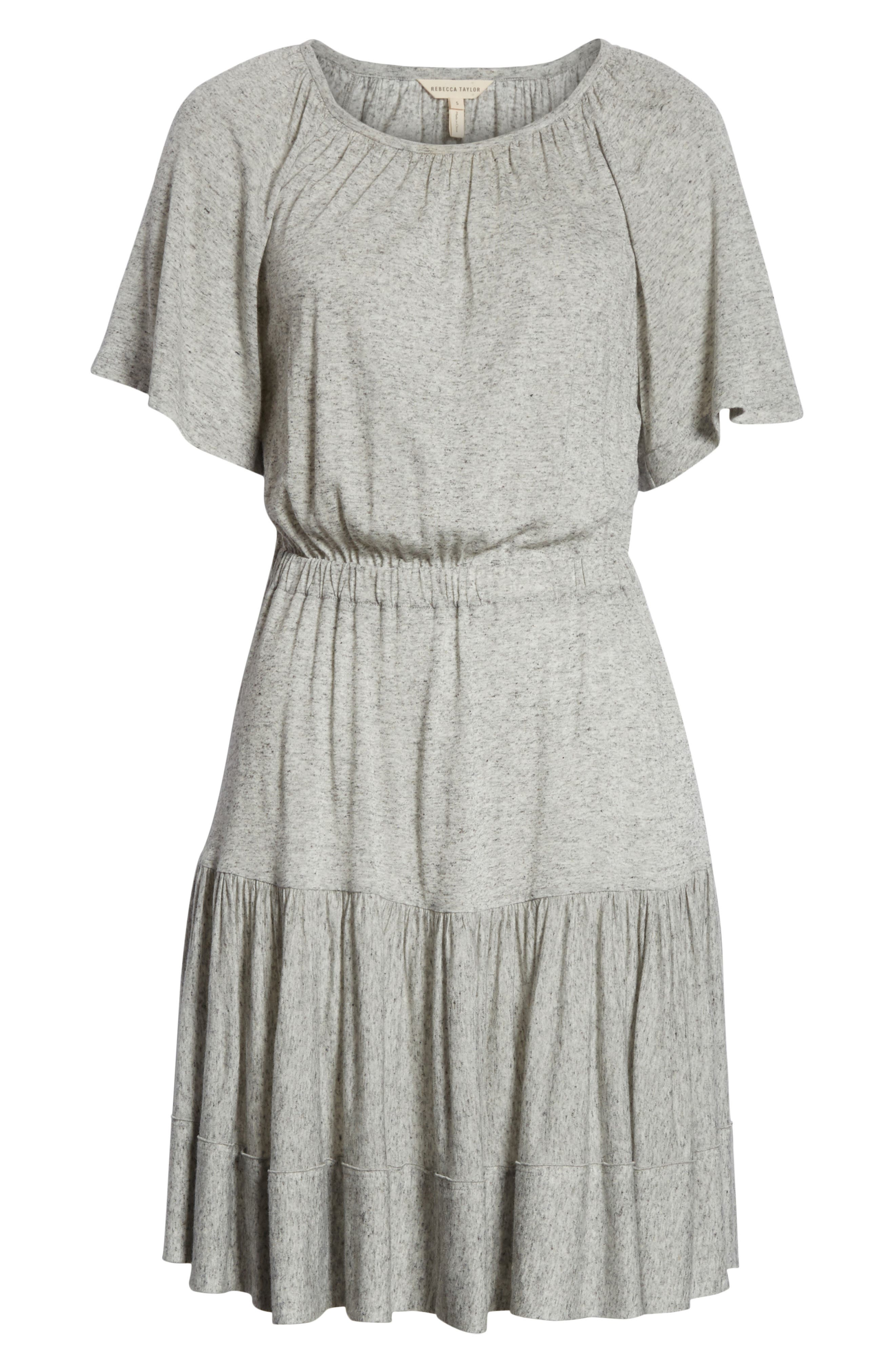 Ruffle Back Cutout Dress,                             Alternate thumbnail 6, color,                             Grey Melange
