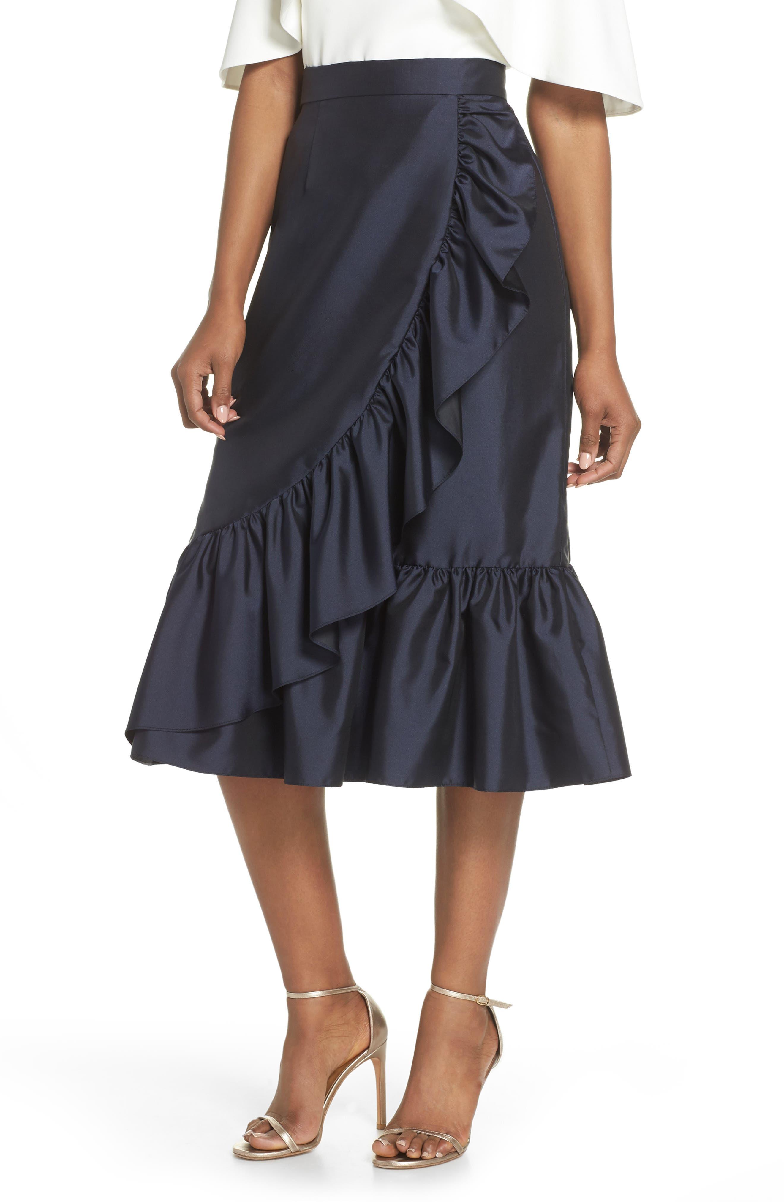 Eliza J Ruffle Midi Skirt