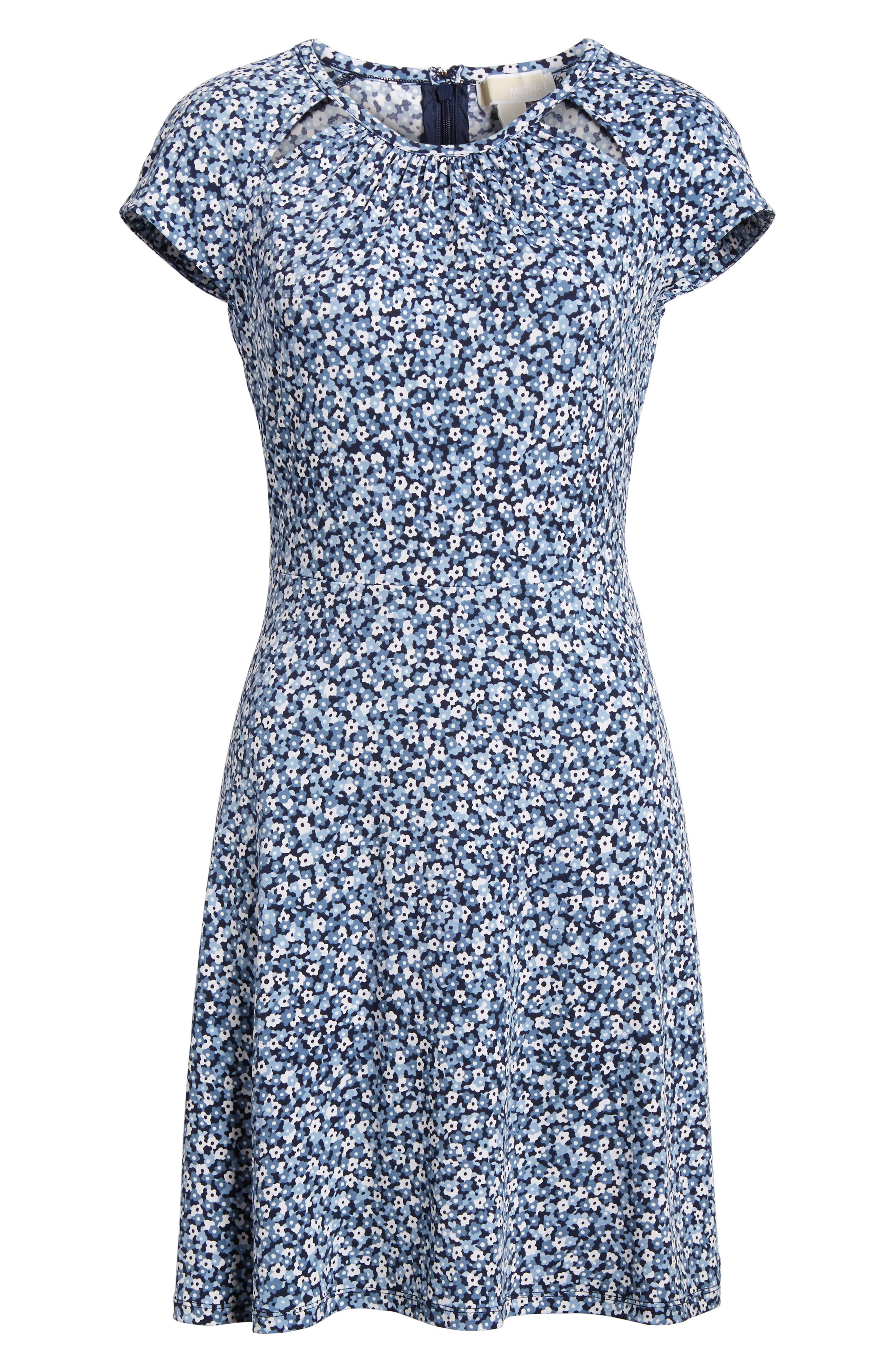 Collage Floral Double Keyhole Dress,                             Alternate thumbnail 6, color,                             True Navy/ Light Chambray