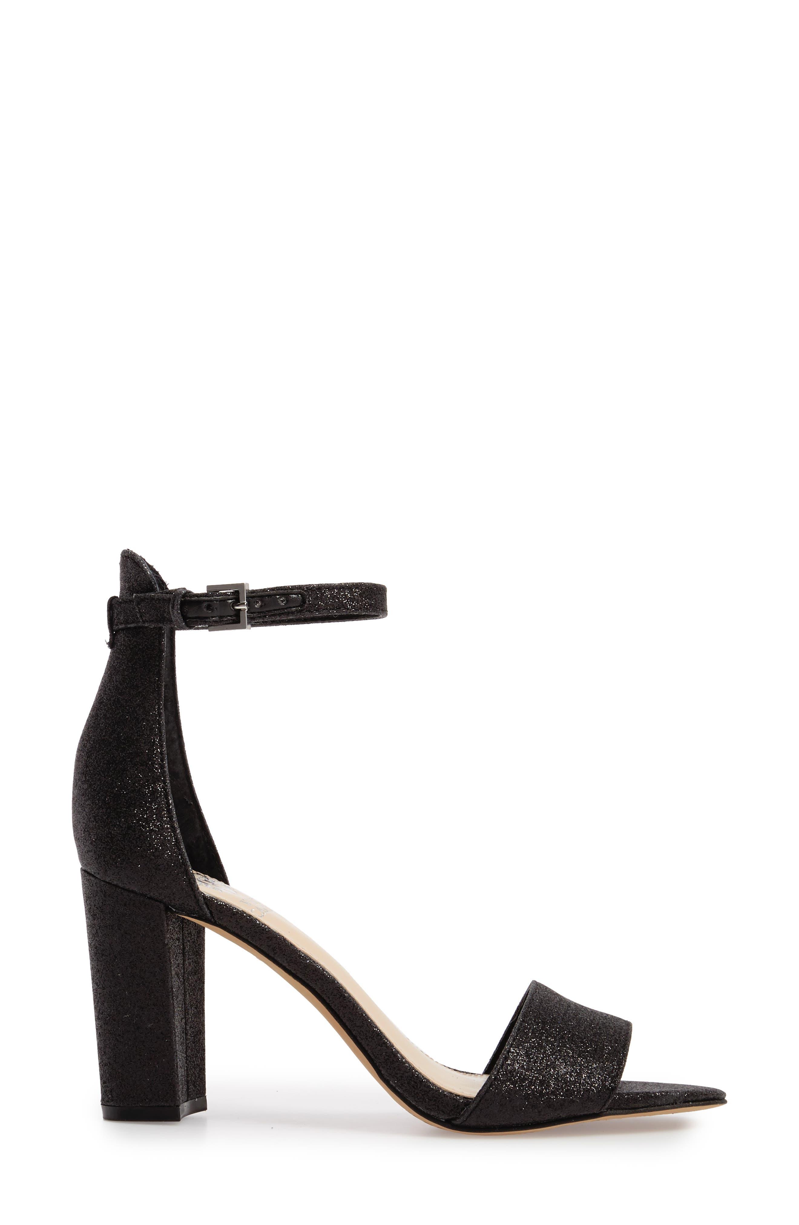 Corlina Ankle Strap Sandal,                             Alternate thumbnail 3, color,                             Black Glitter Fabric