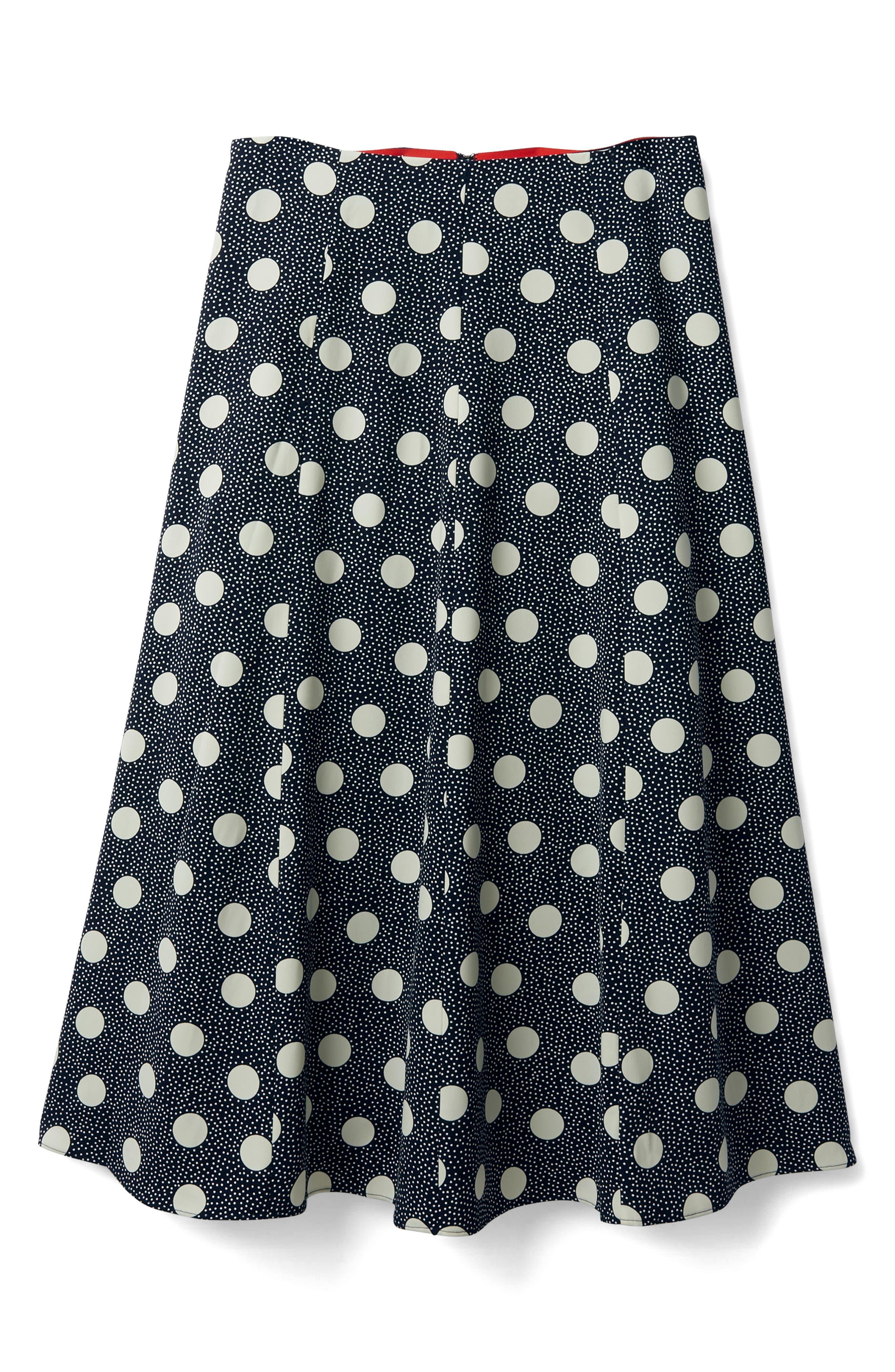 Floaty Polka Dot Midi Skirt,                             Alternate thumbnail 4, color,                             Navy Spot On Spot