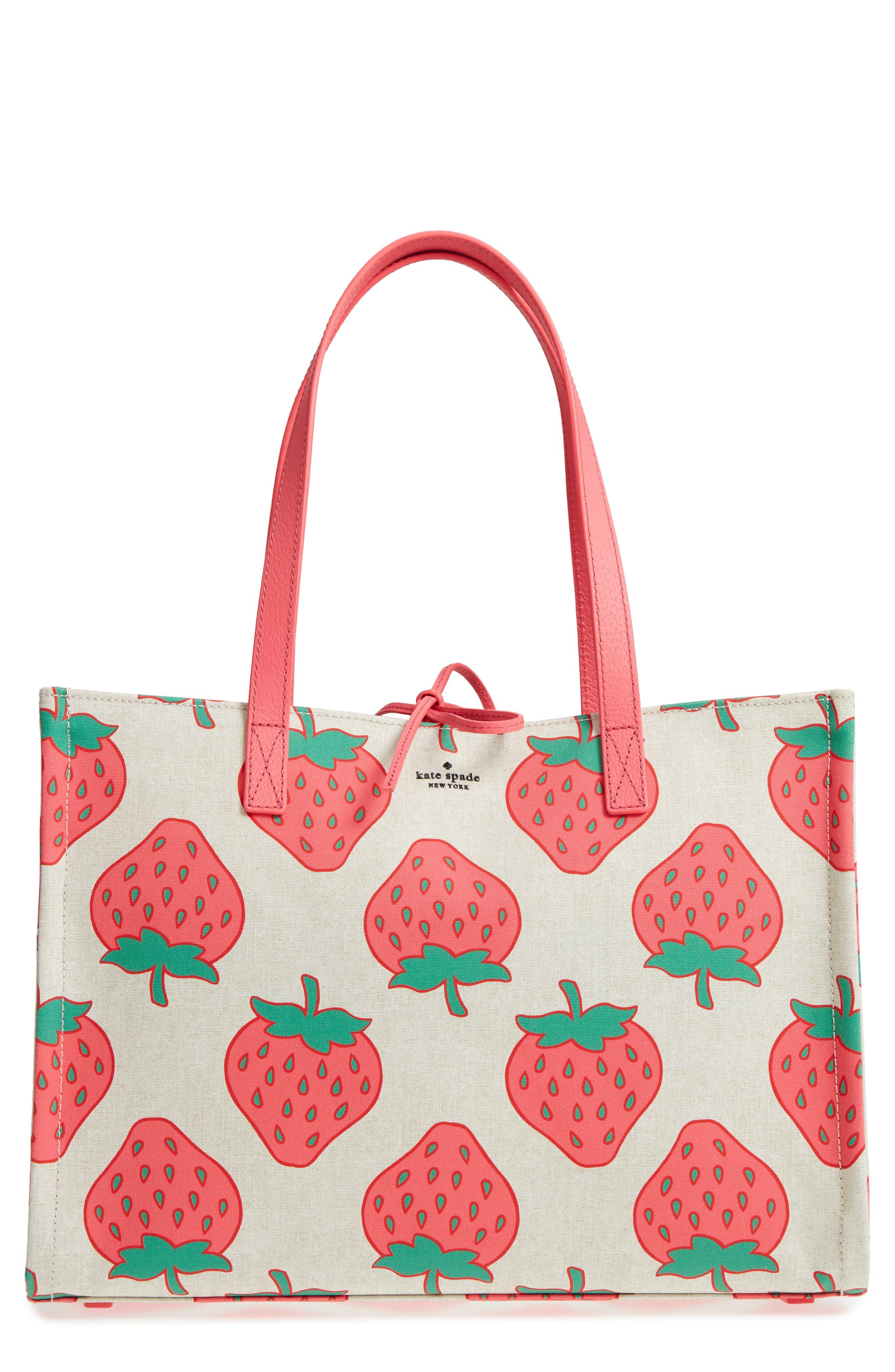 picnic perfect strawberry canvas mega sam canvas tote,                         Main,                         color, Multi