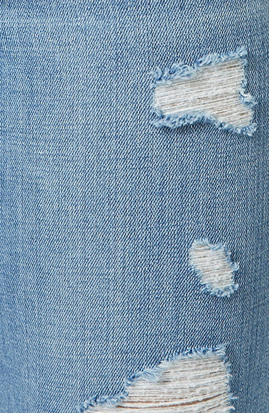 Alternate Image 4  - Topshop Moto High Rise Ripped Jeans (Light Denim) (Short)