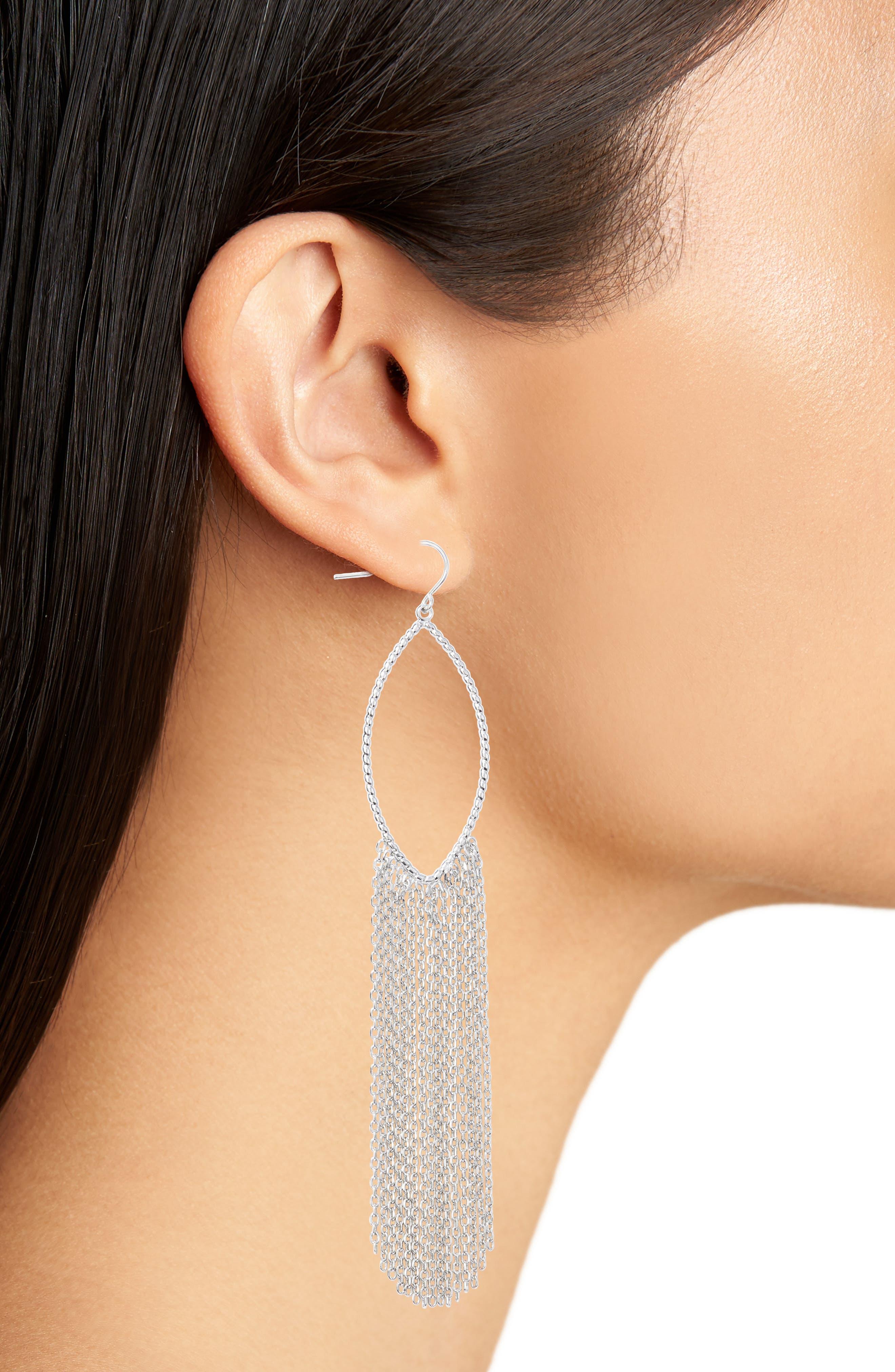 Textured Ellipse Fringe Hoop Earrings,                             Alternate thumbnail 2, color,                             Rhodium