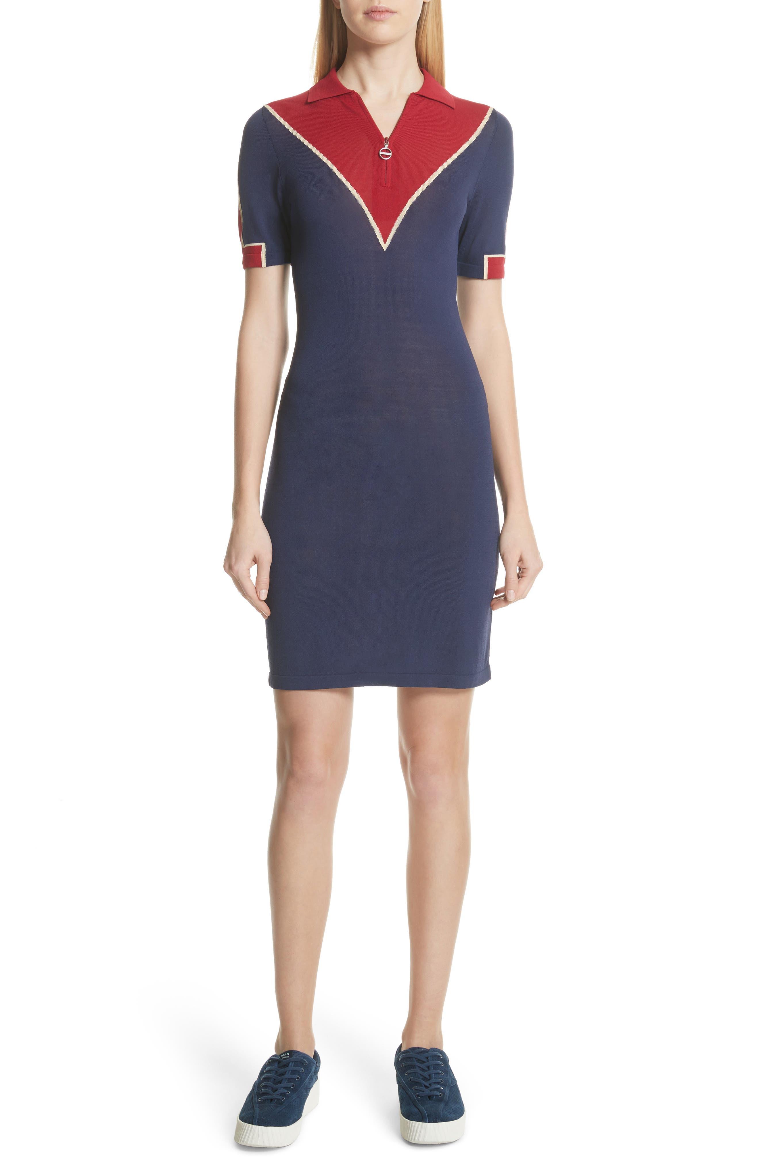 Chevron Knit Dress,                             Main thumbnail 1, color,                             Navy