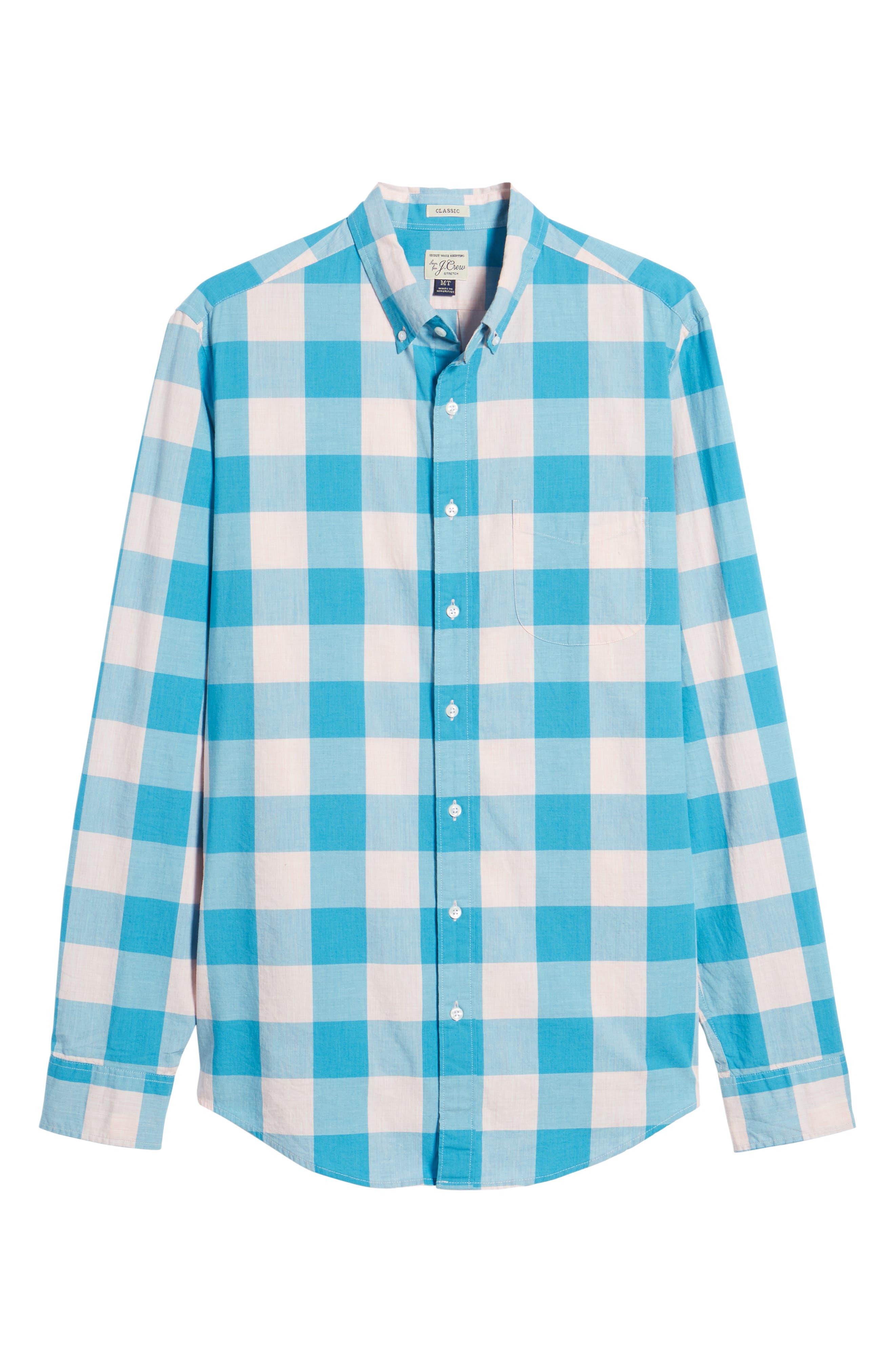Classic Fit Stretch Secret Wash Check Sport Shirt,                             Alternate thumbnail 6, color,                             Blush Sea