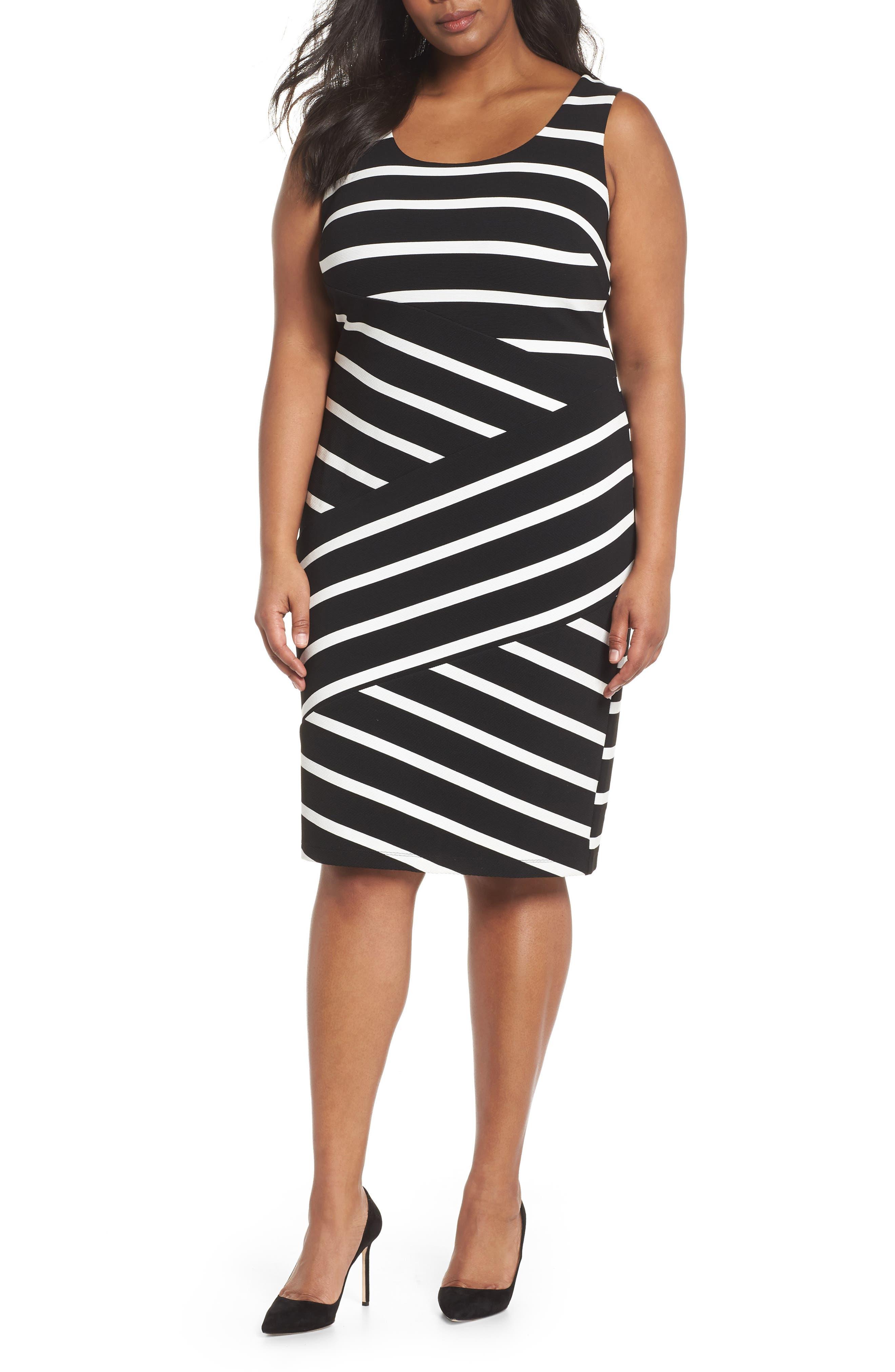 Ottoman Striped Sheath Dress,                             Main thumbnail 1, color,                             Black/ Ivory