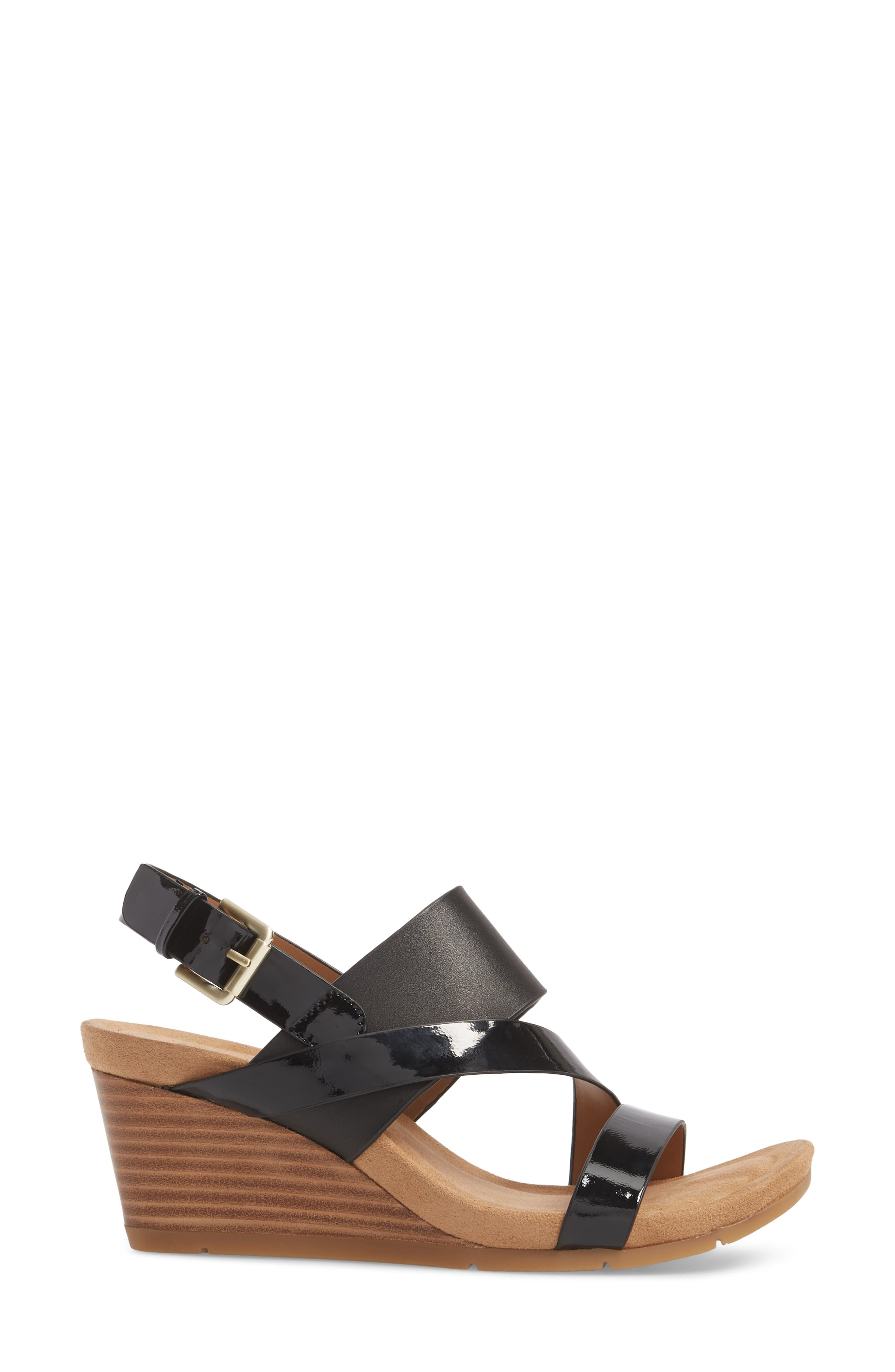 Vail Wedge Sandal,                             Alternate thumbnail 3, color,                             Black Leather