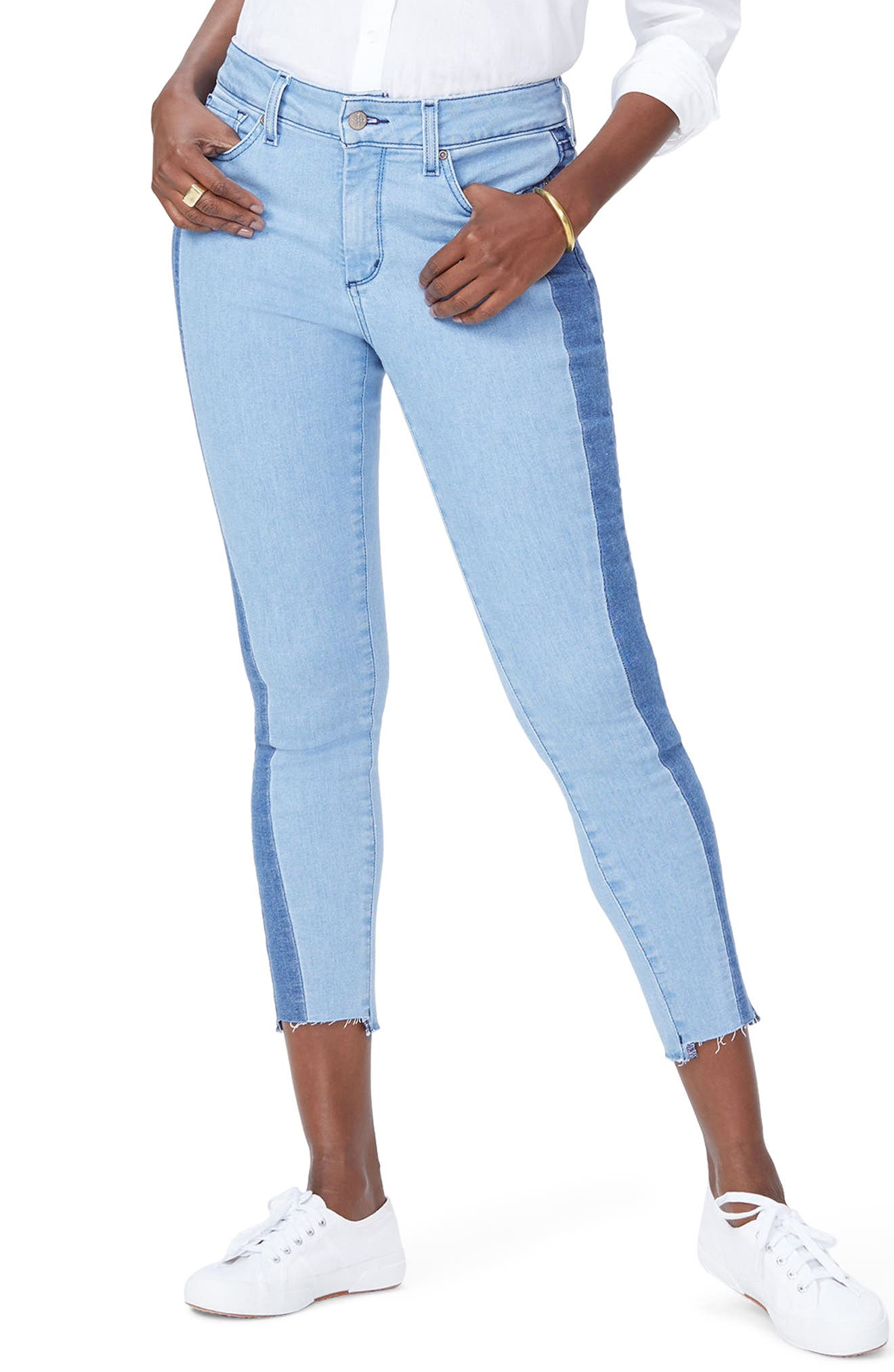 Ami Stretch Ankle Skinny Contrast Step Hem Jeans,                             Main thumbnail 1, color,                             Blissful