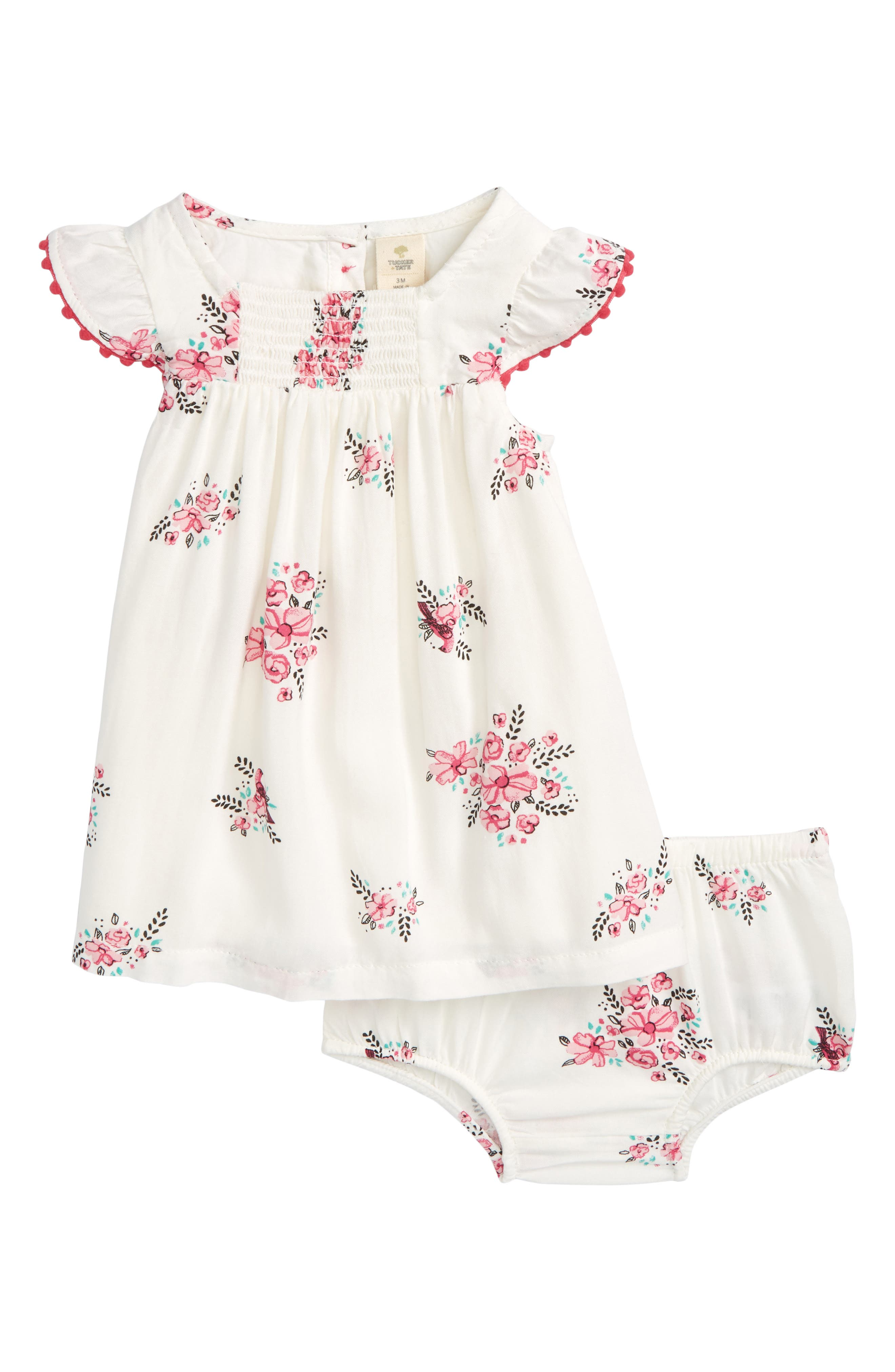 Smocked Dress,                             Main thumbnail 1, color,                             Ivory Egret Pretty Floral