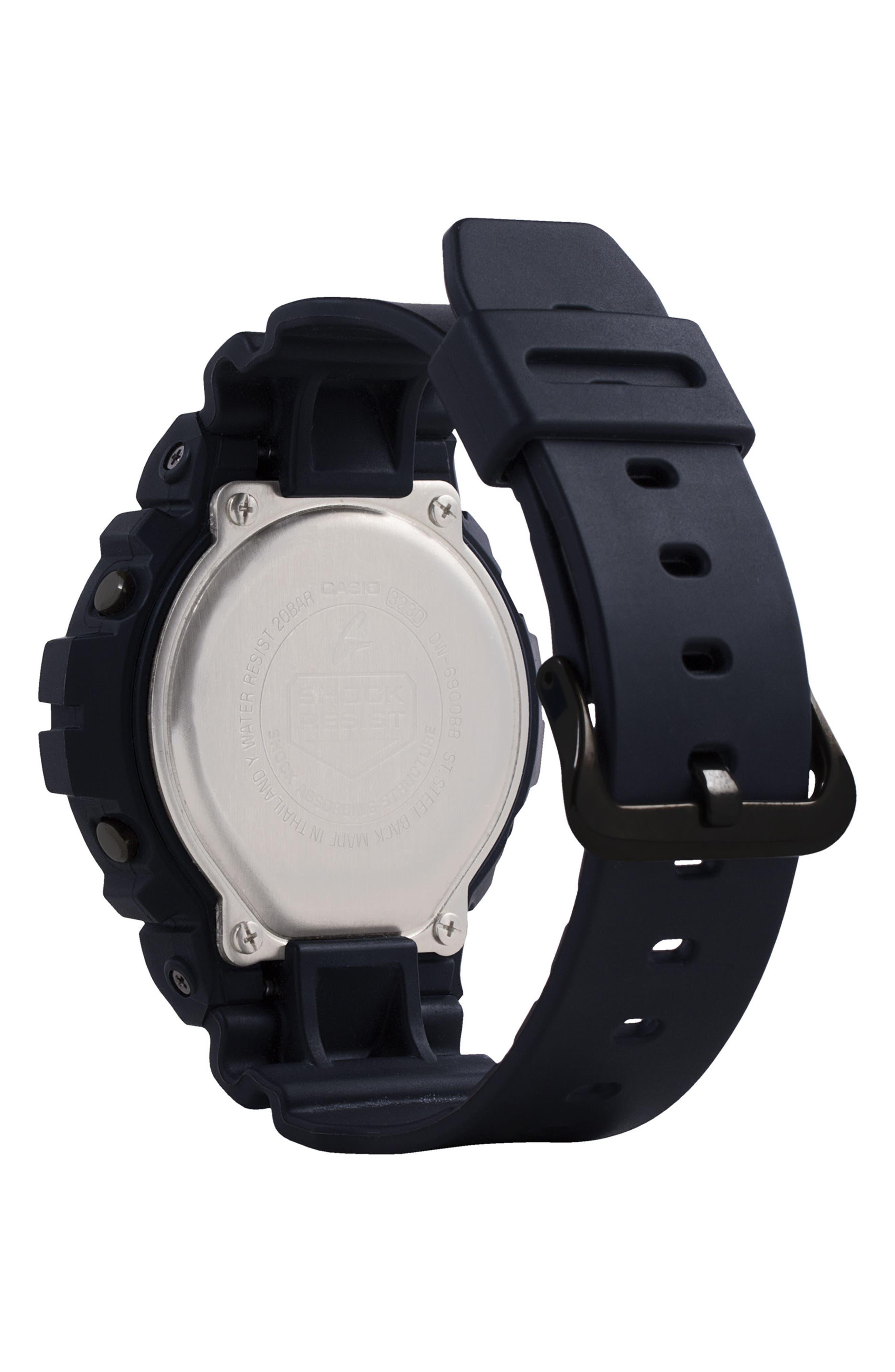 G-Shock Resin Digital Watch, 50mm,                             Alternate thumbnail 2, color,                             Black