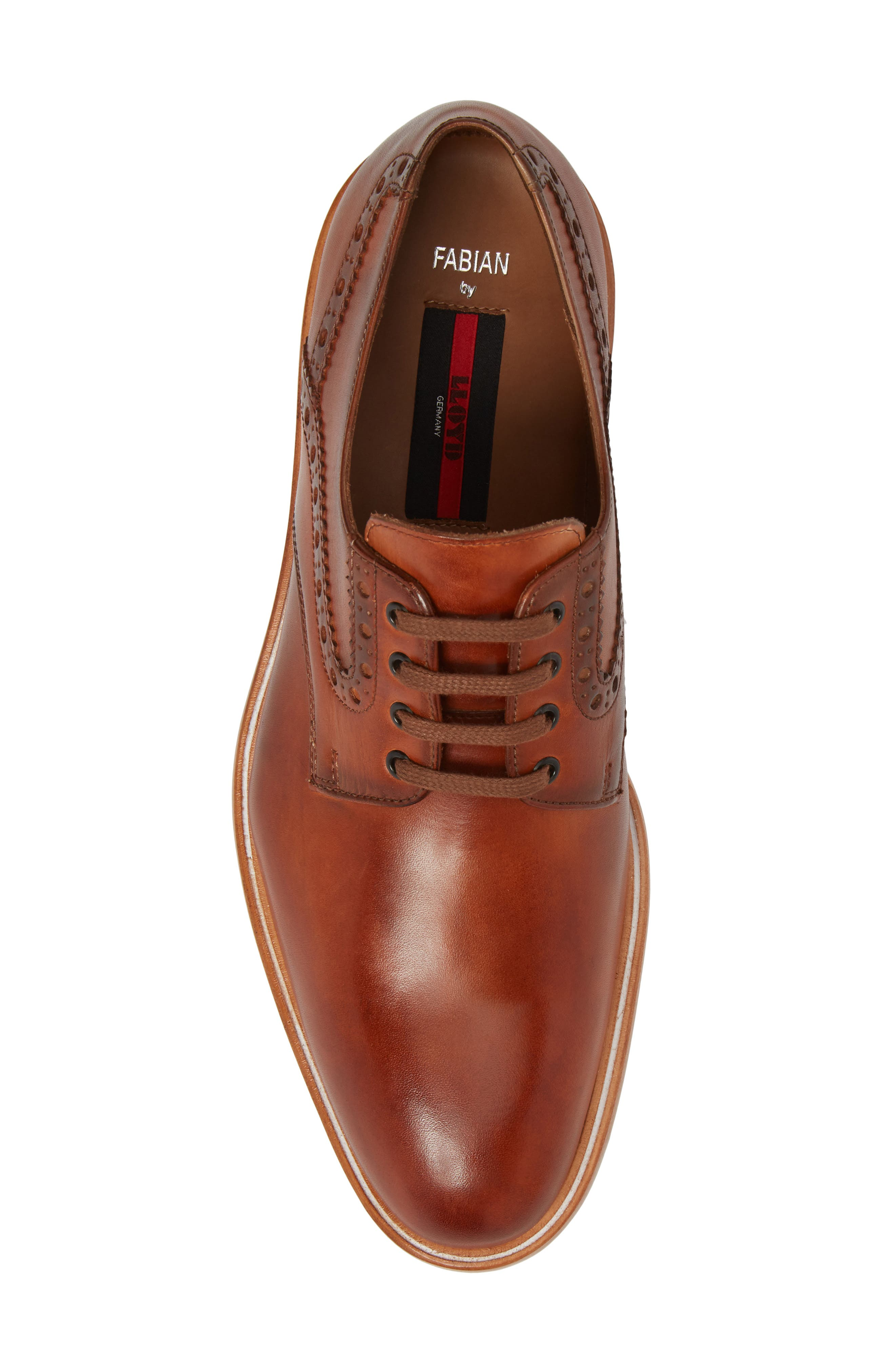 Fabian Plain Toe Derby,                             Alternate thumbnail 5, color,                             Fox Brown Leather