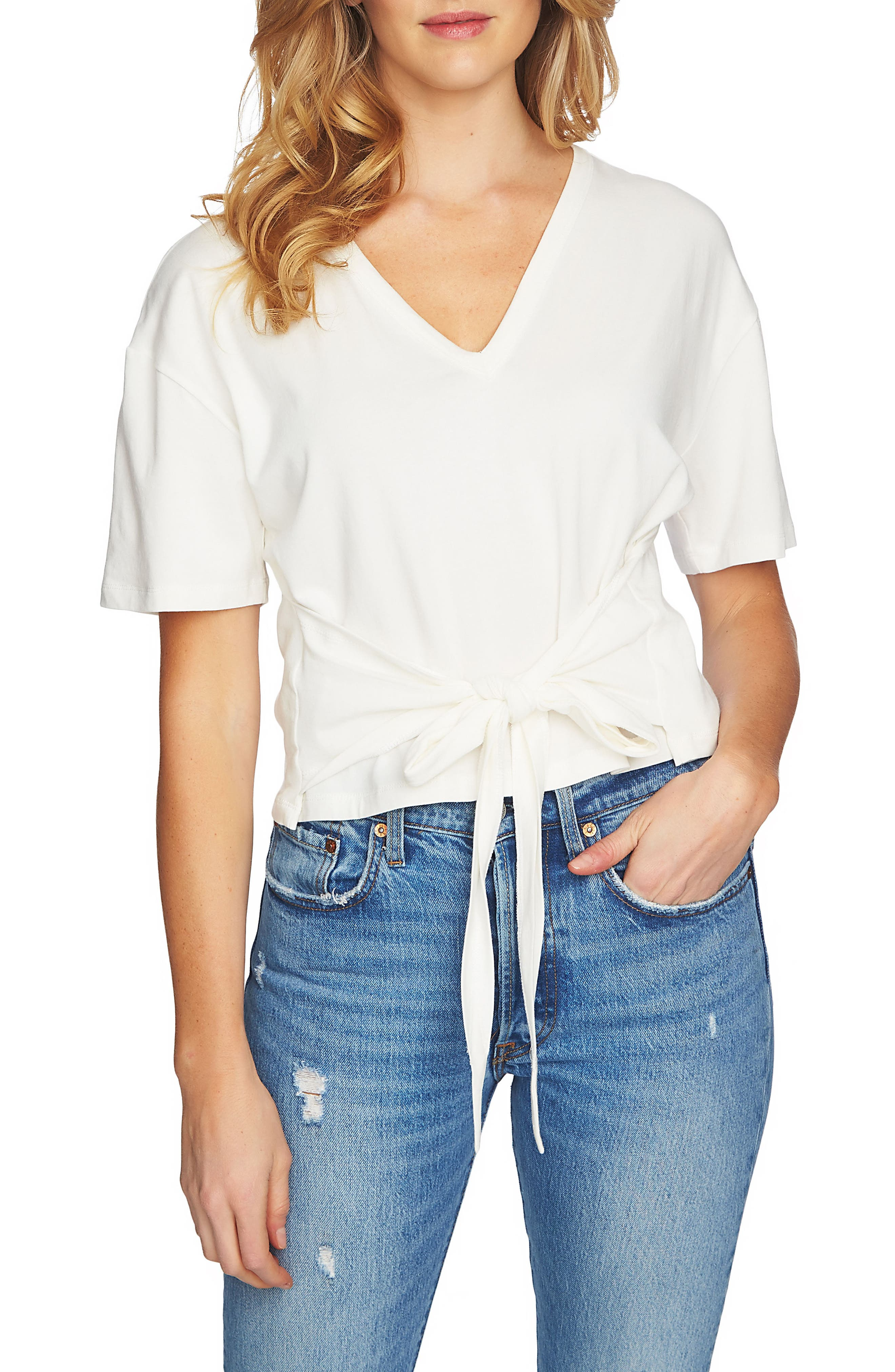Tie Front V-Neck Tee,                         Main,                         color, New Ivory