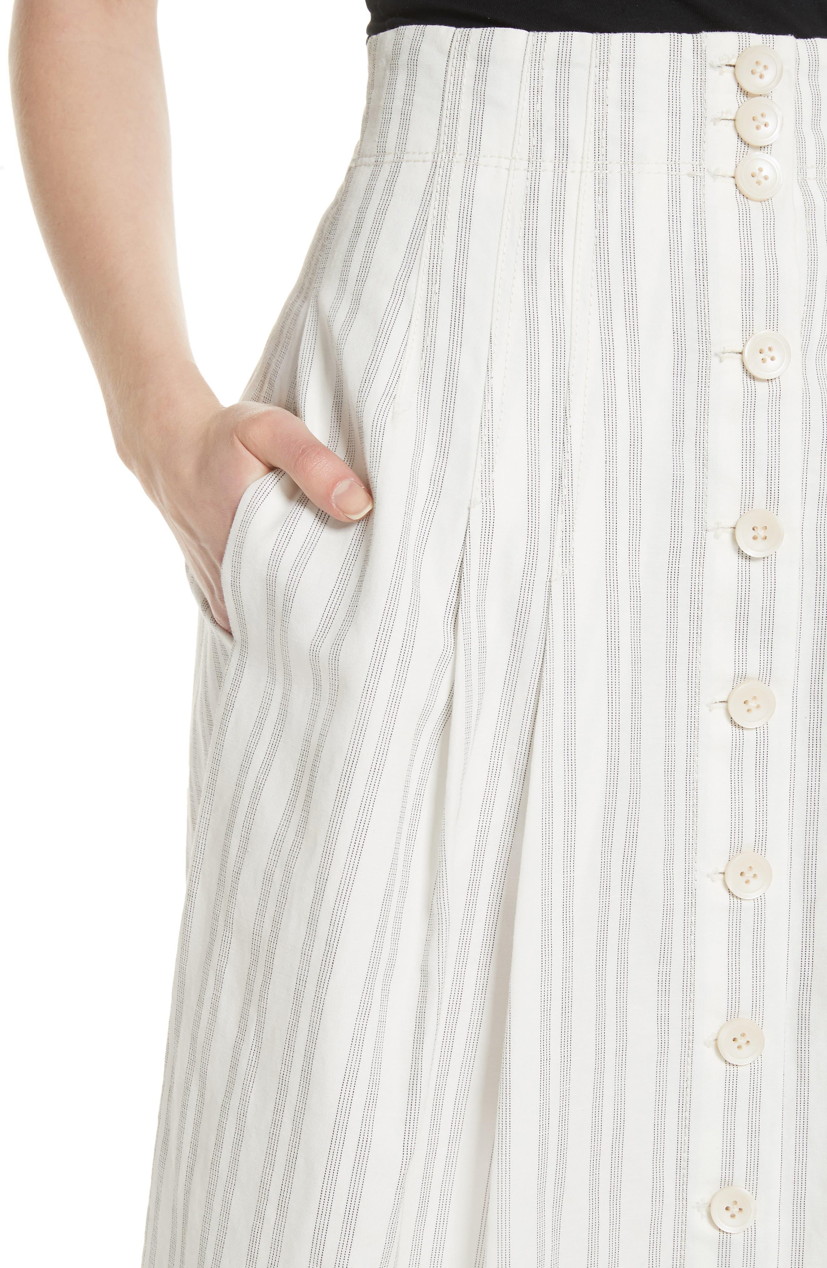 Stripe Midi Skirt,                             Alternate thumbnail 4, color,                             Snow/ Black