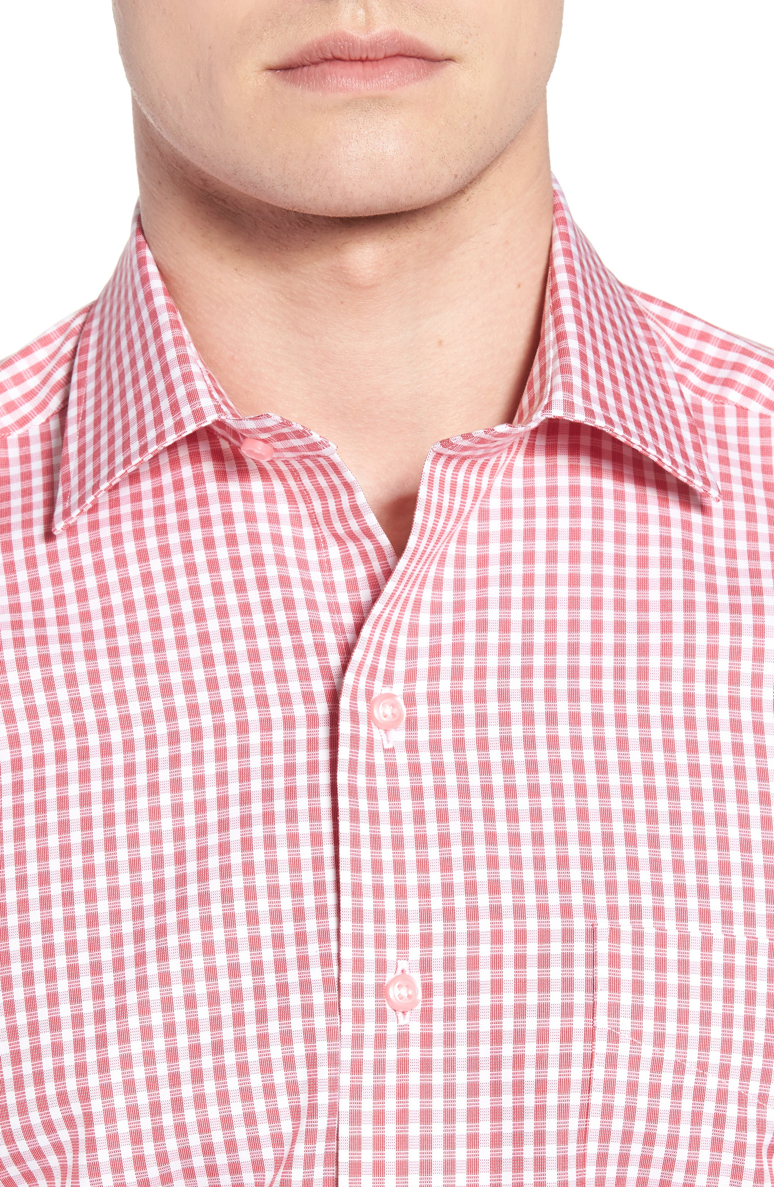Check Cotton Sport Shirt,                             Alternate thumbnail 4, color,                             Pink