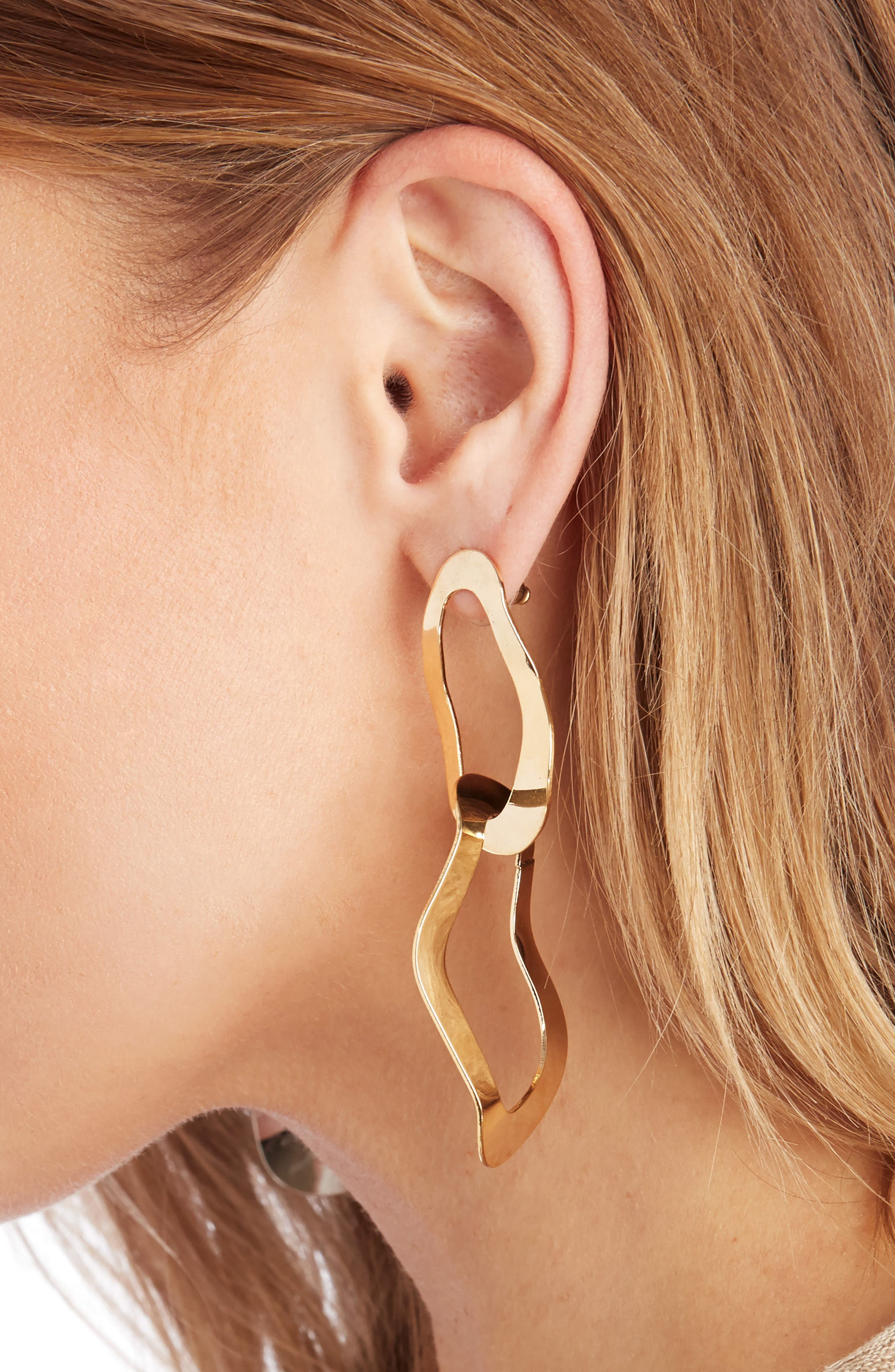 Twisted Metal Statement Earrings,                             Alternate thumbnail 2, color,                             Gold