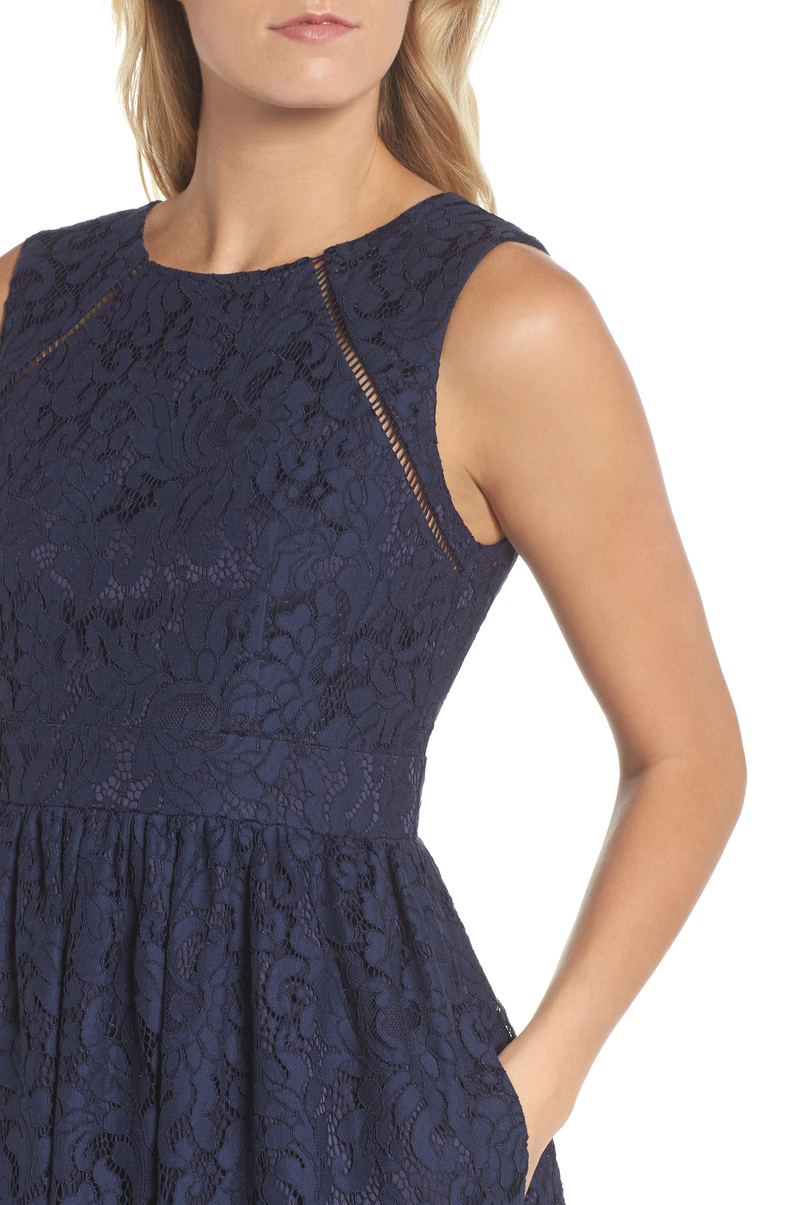 Sleeveless Lace Fit & Flare Dress,                             Alternate thumbnail 4, color,                             Navy
