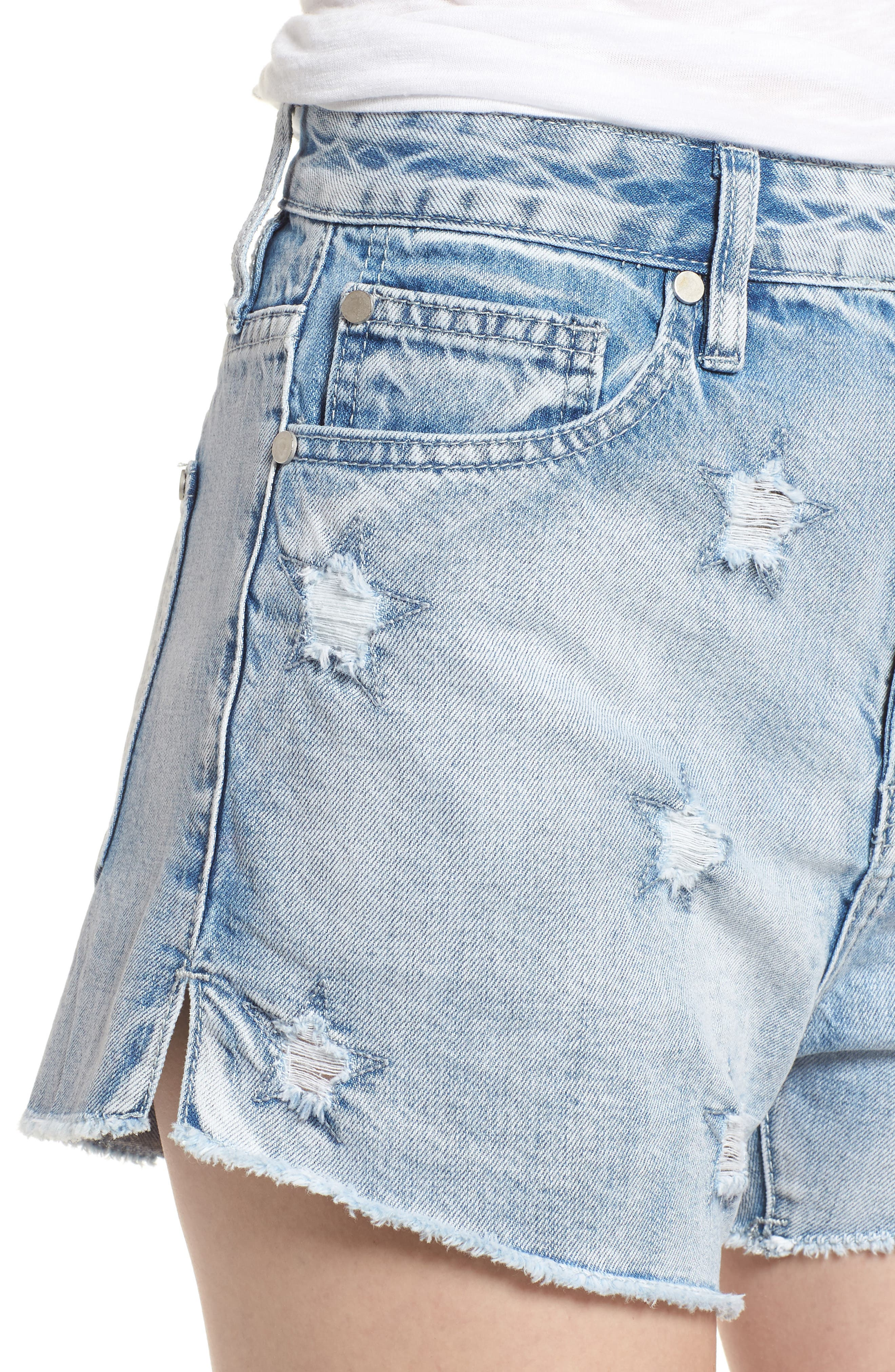 Acid Wash Star Denim Shorts,                             Alternate thumbnail 4, color,                             Super Light Acid