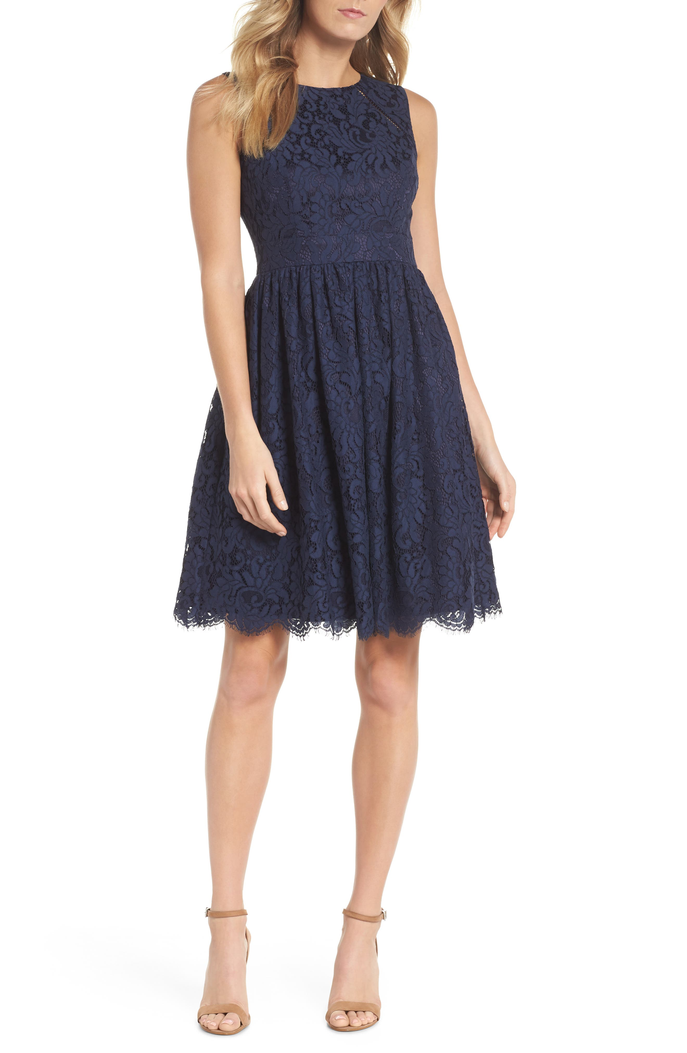 Sleeveless Lace Fit & Flare Dress,                         Main,                         color, Navy