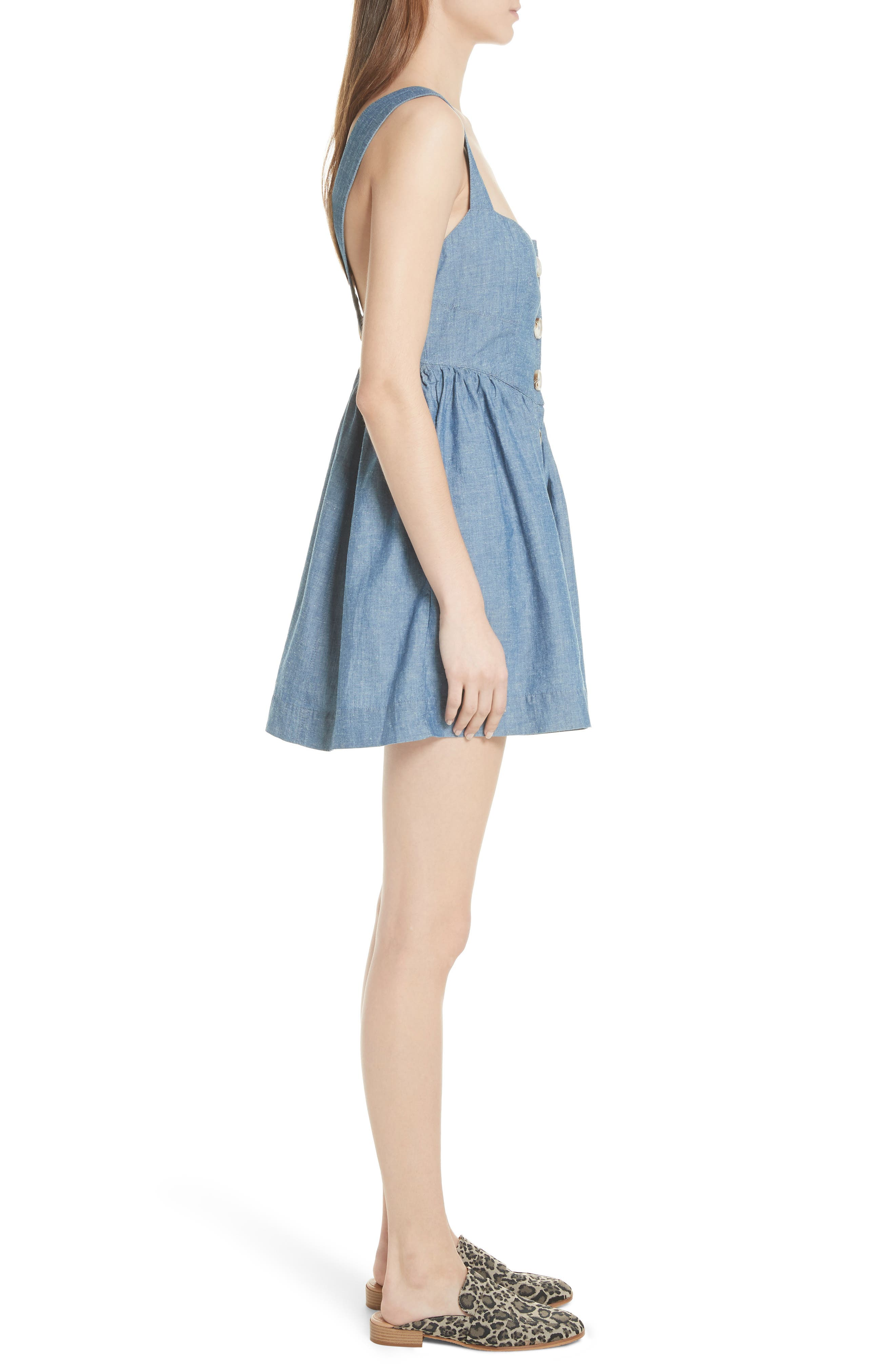 Carolina Chambray Minidress,                             Alternate thumbnail 3, color,                             Blue