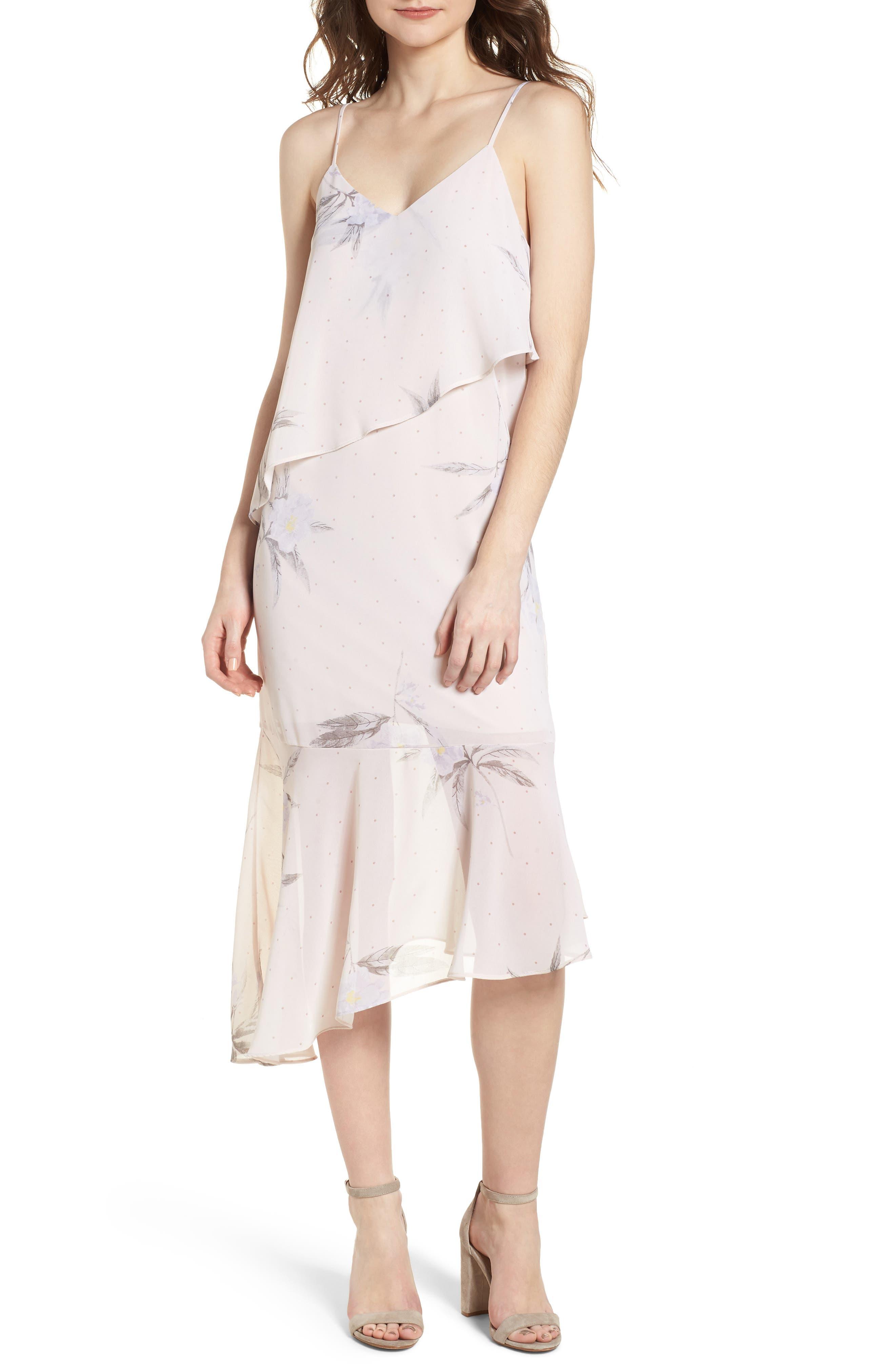 Asymmetric Midi Dress,                             Main thumbnail 1, color,                             Light Taupe Floral