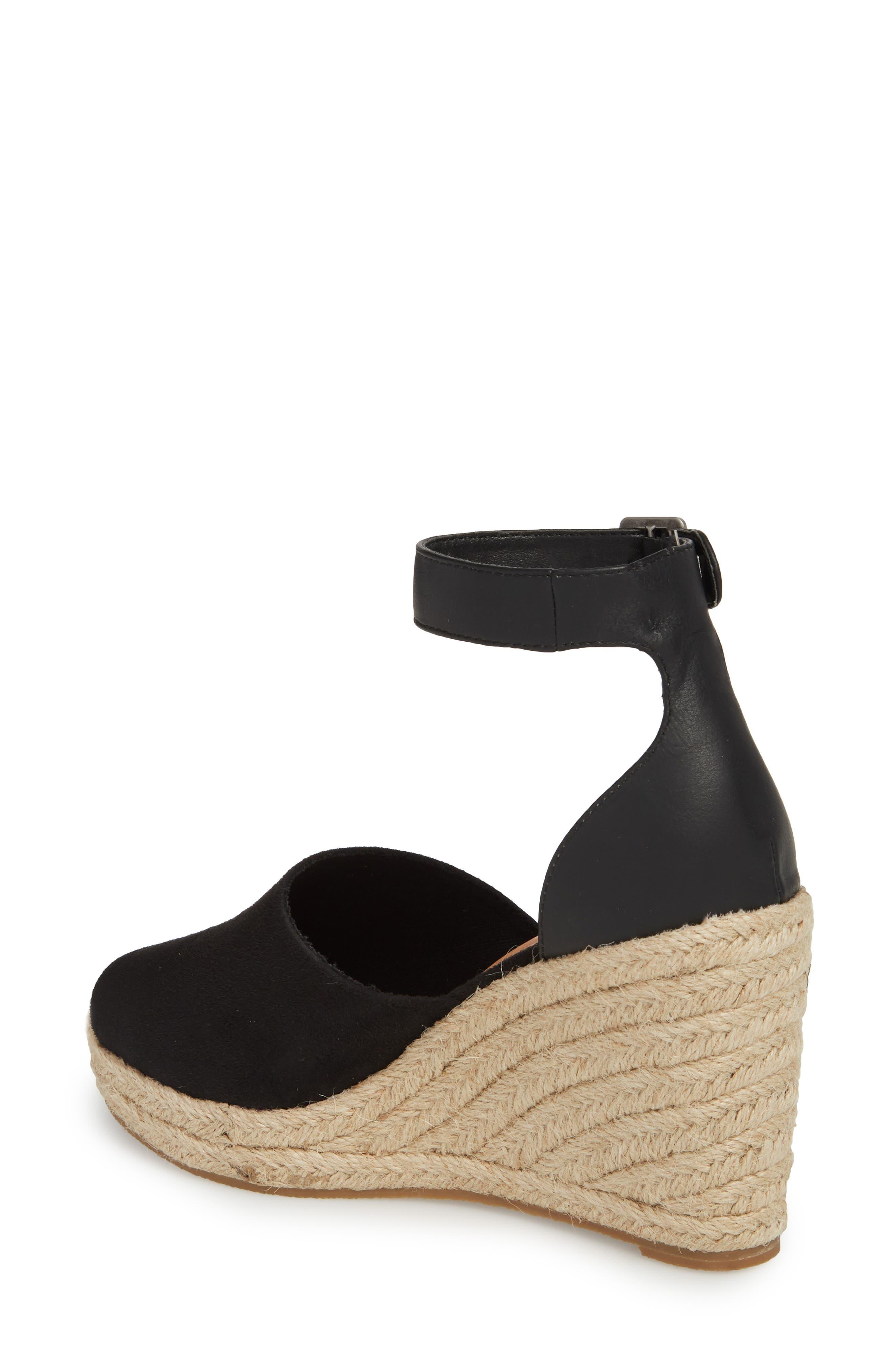 Flamingo Wedge Sandal,                             Alternate thumbnail 2, color,                             Black Suede