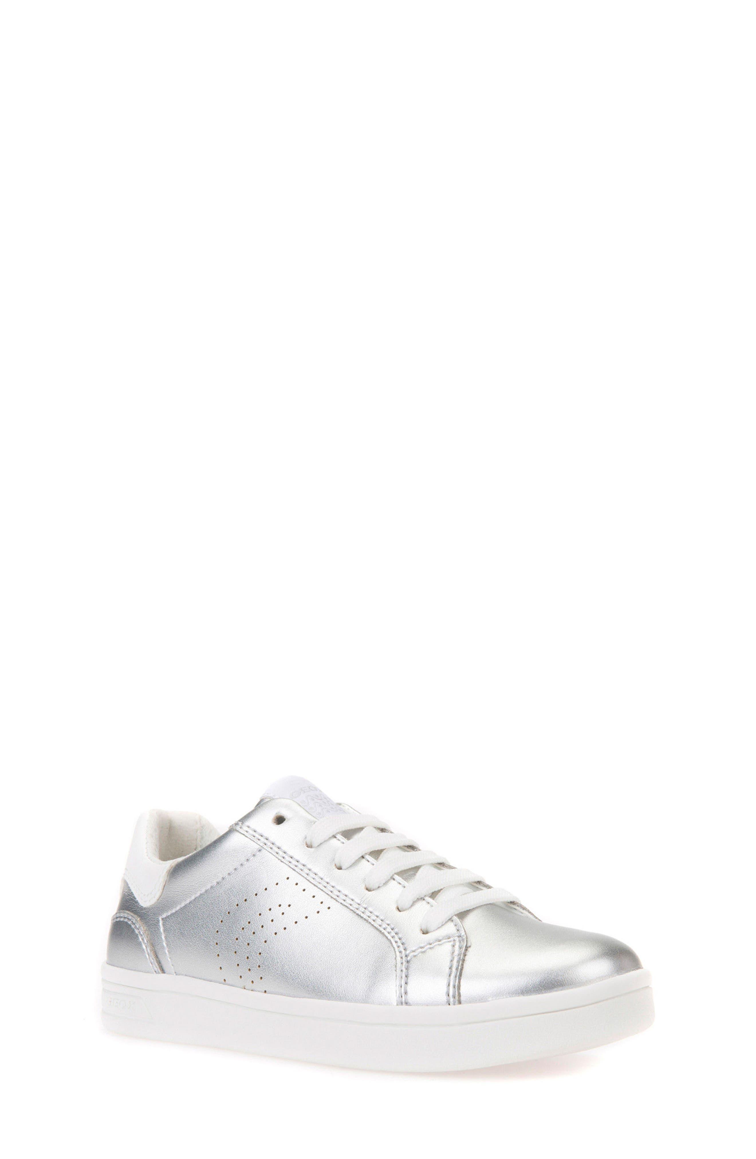 DJ Rock Metallic Low Top Sneaker,                             Main thumbnail 1, color,                             Silver