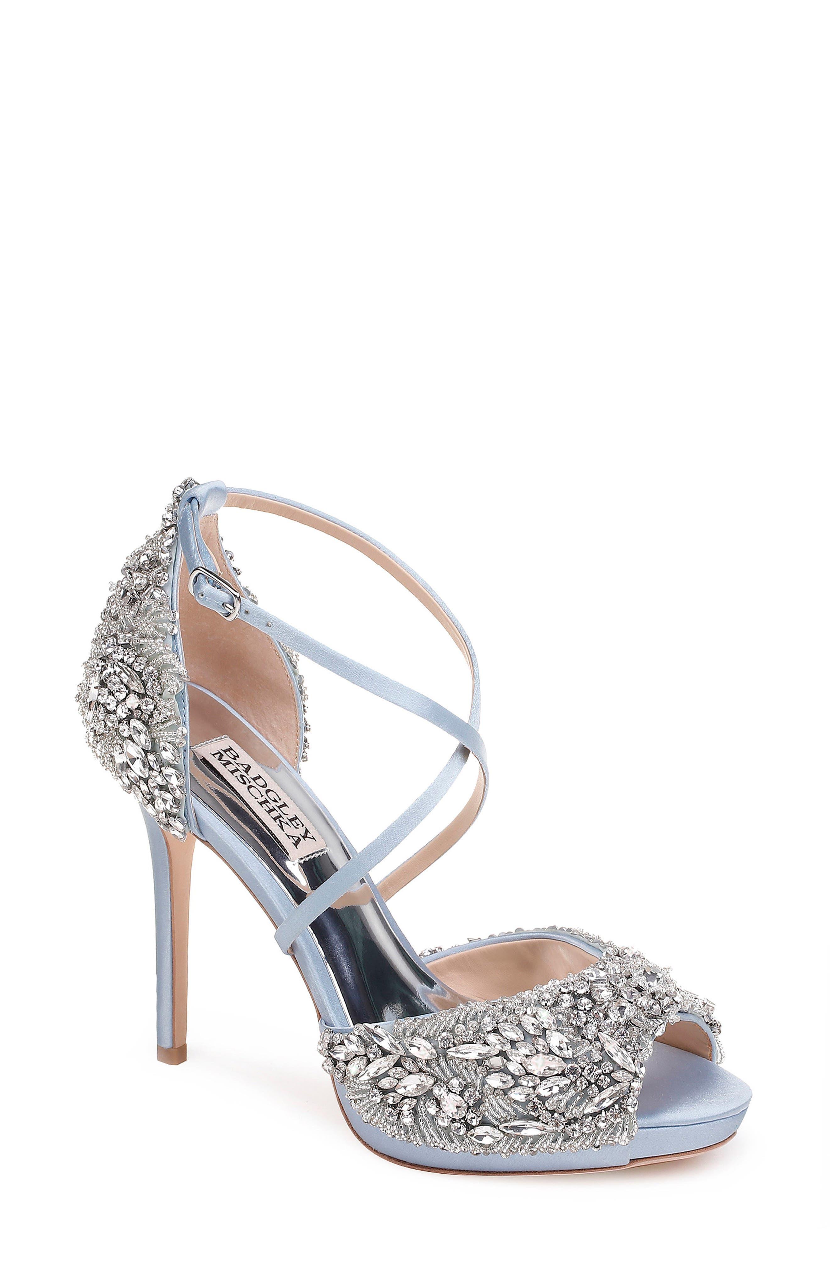 Hyper Crystal Embellished Sandal,                         Main,                         color, Light Blue Satin