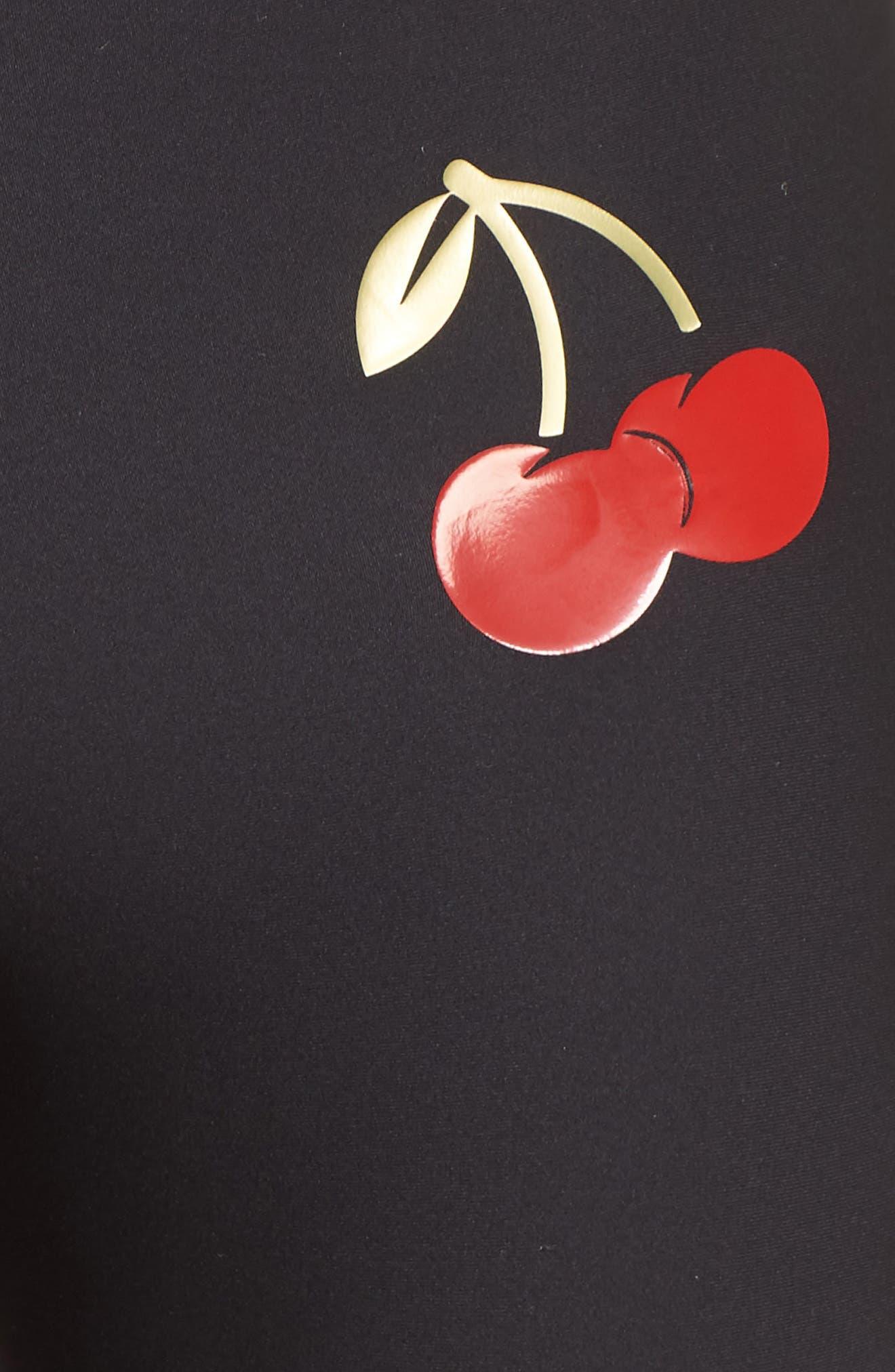 Ultra Cherry Pop Leggings,                             Alternate thumbnail 6, color,                             Nero/ Patent Rouge