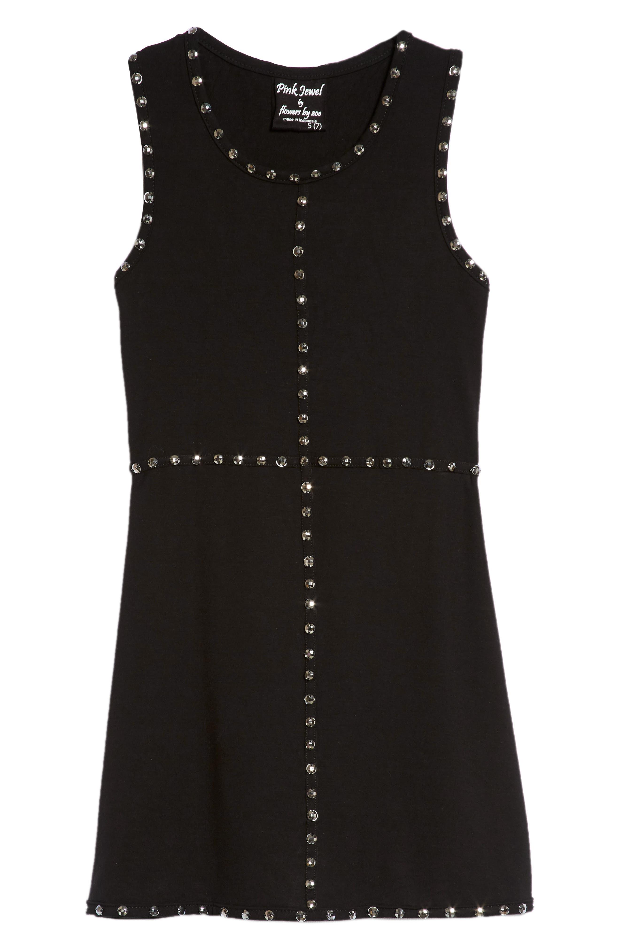 Crystal Studded Tank Dress,                             Main thumbnail 1, color,                             Black