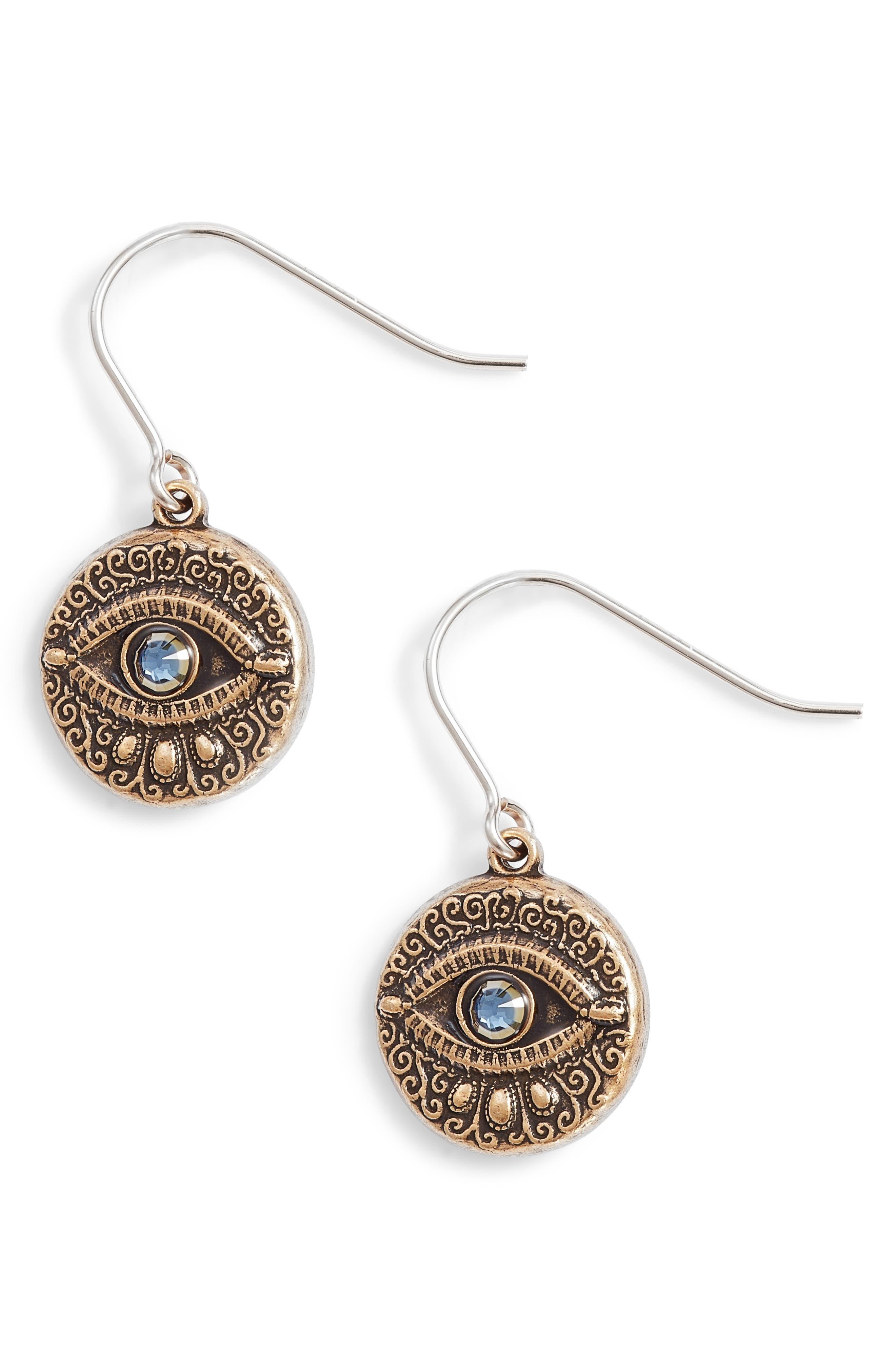 Evil Eye Earrings,                         Main,                         color, Gold