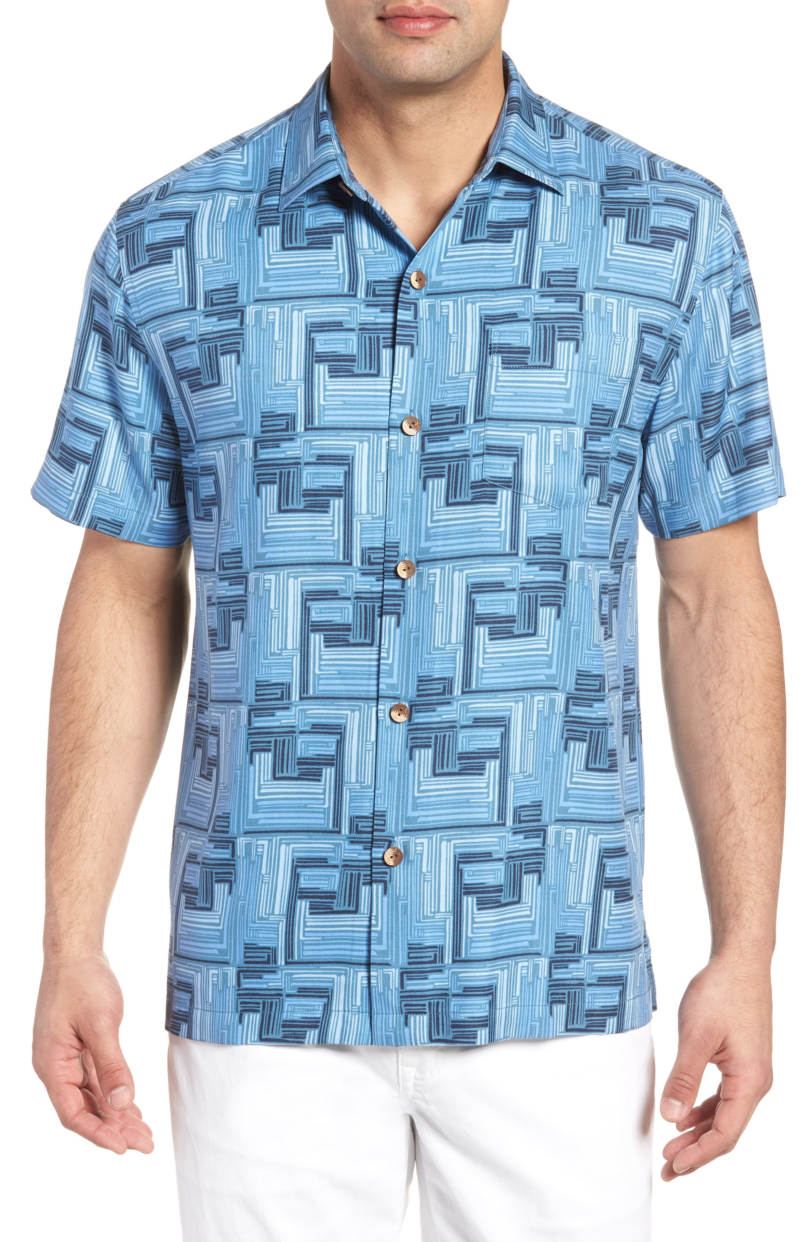 Mayan Maze Silk Blend Performance Camp Shirt,                             Main thumbnail 1, color,                             Ocean Deep